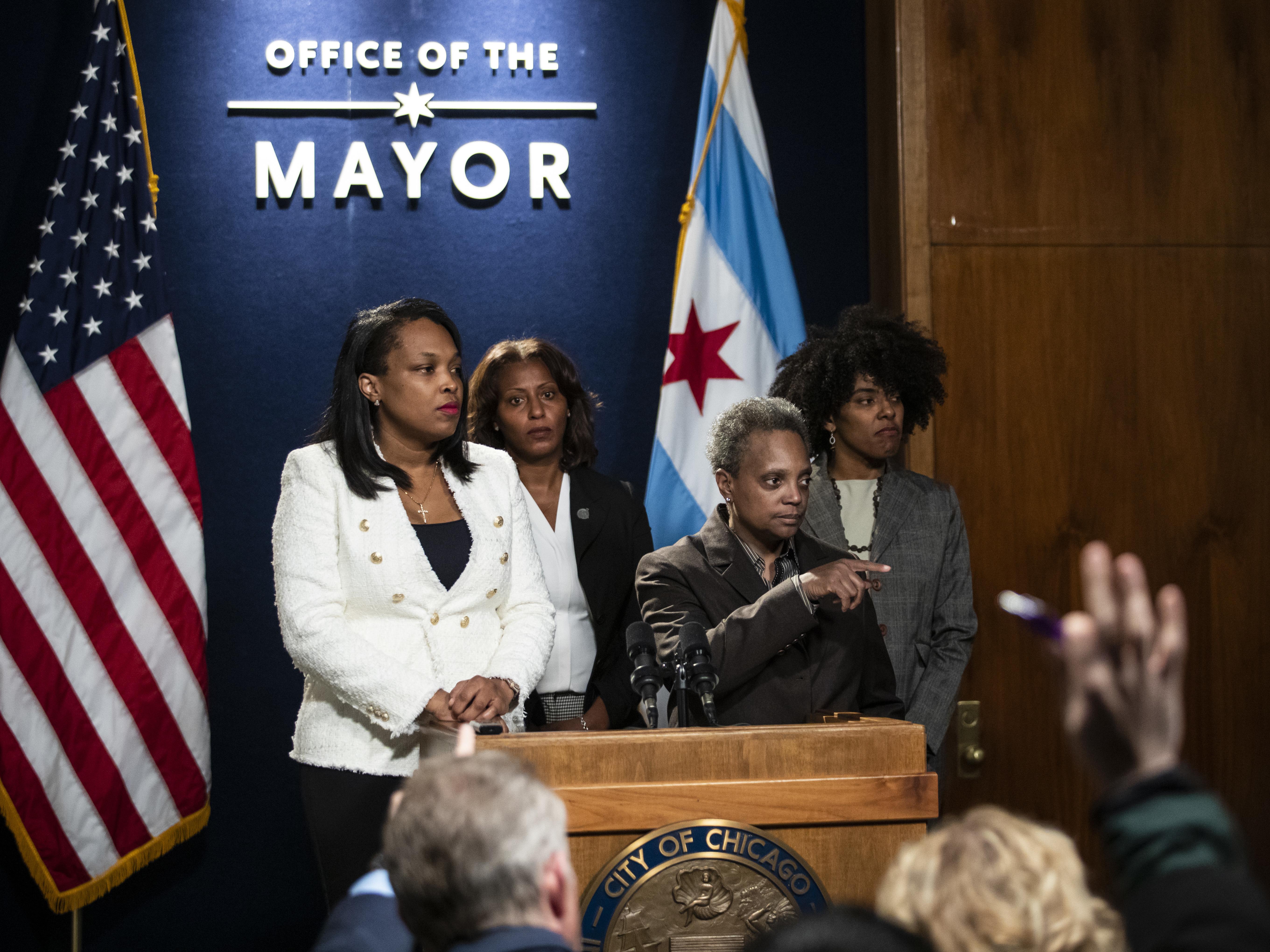 Mayor Lori Lightfoot talks about the ongoing Chicago teachers strike on Thursday, Oct. 31, 2019.