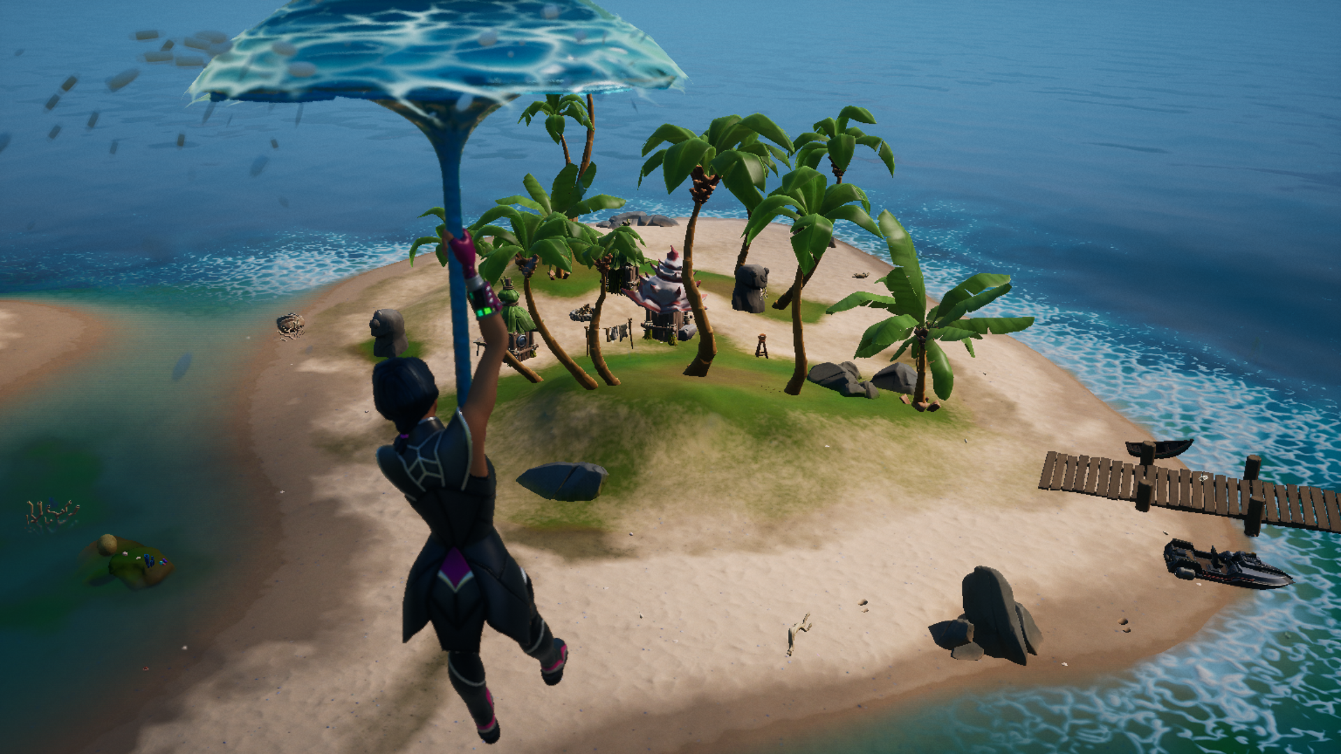 A Fortnite player in Chapter 2 season 1 gliding toward Coral Cove