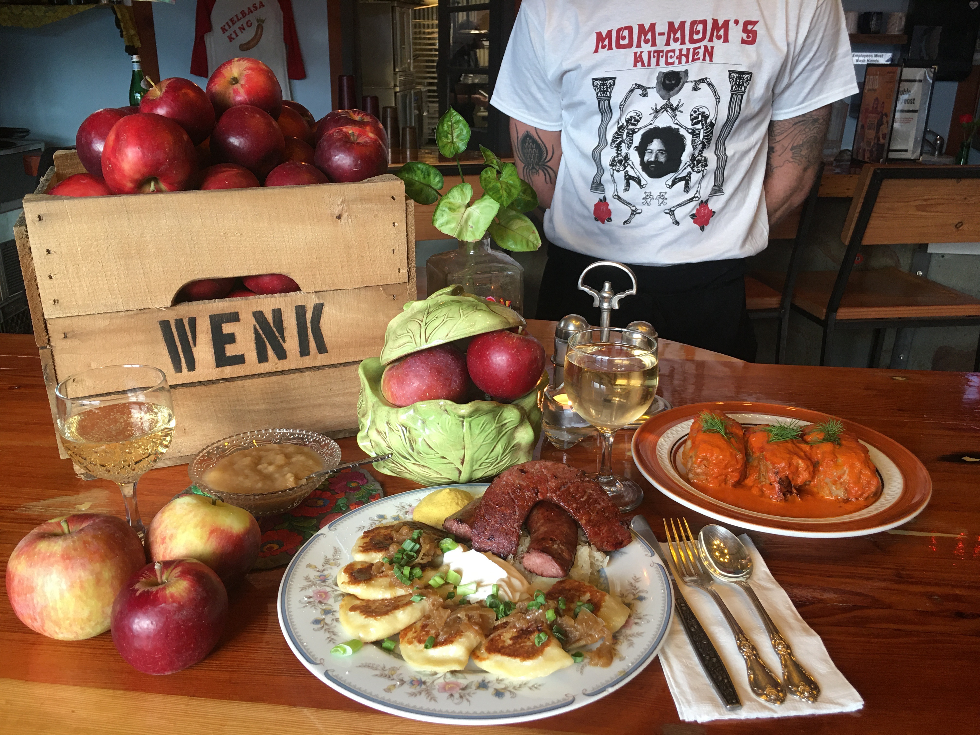plate of polish food and person wearing shirt that says mom-mom's