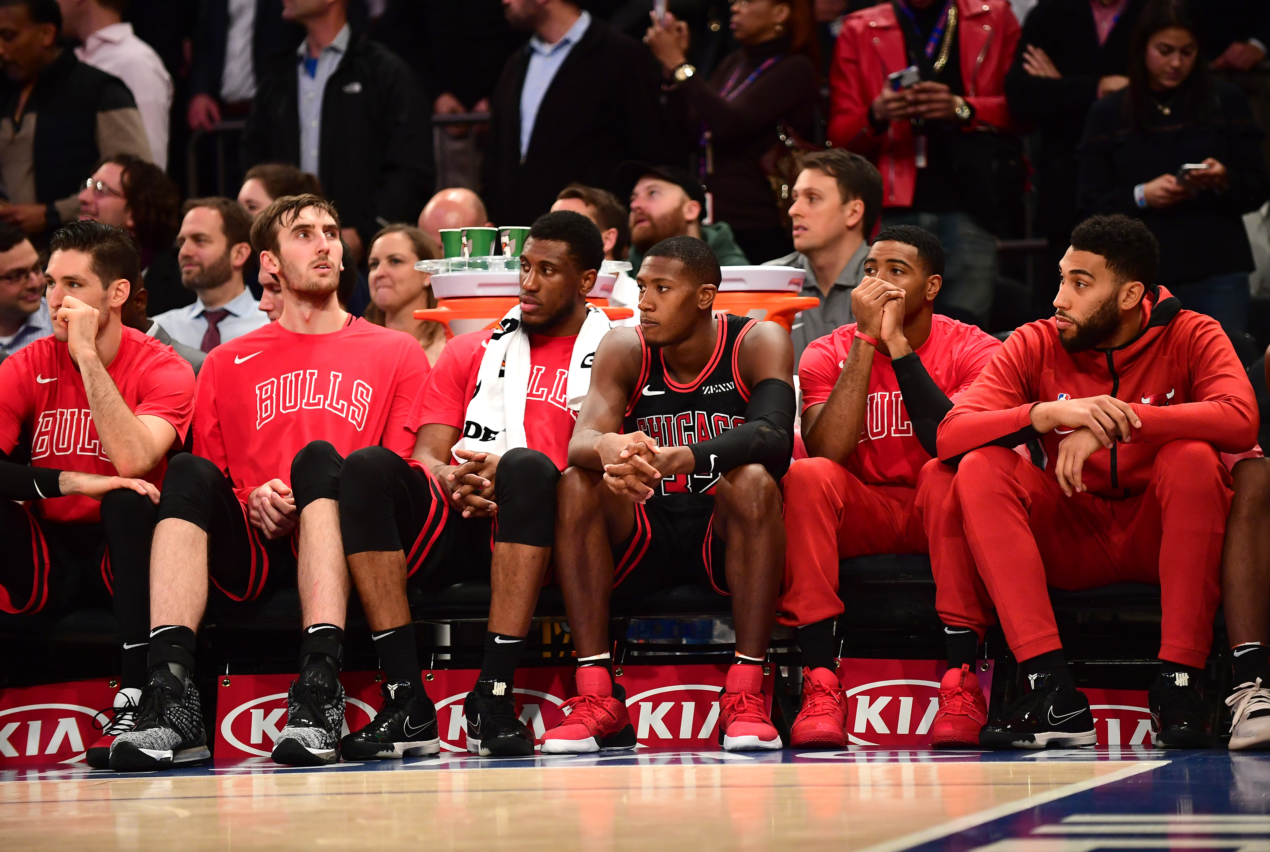 Players on the Bulls bench look on during a loss to the New York Knicks.