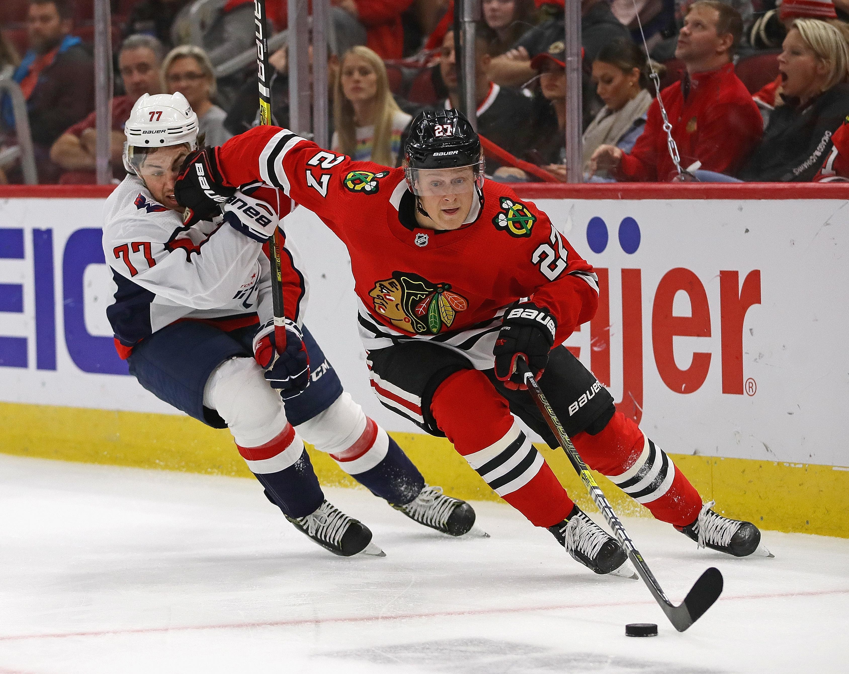 Adam Boqvist could make his regular-season NHL debut during the Blackhawks' California road trip.