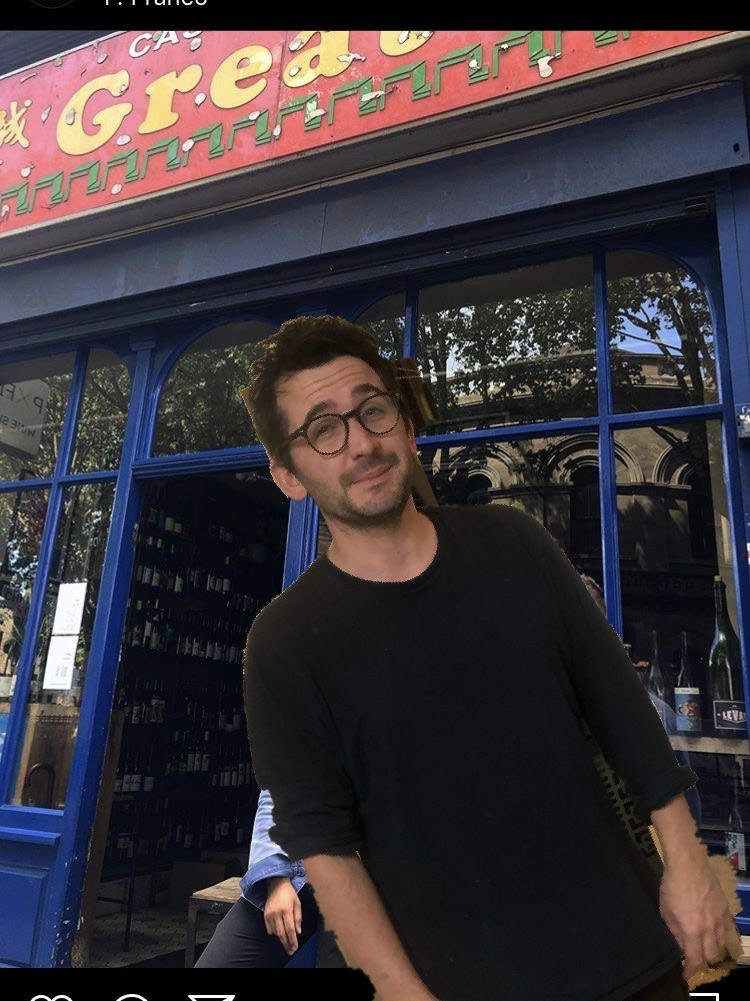 Seb Myers, superimposed over P. Franco's frontage —the chef will takeover the induction hobs at the Hackney wine bar next month