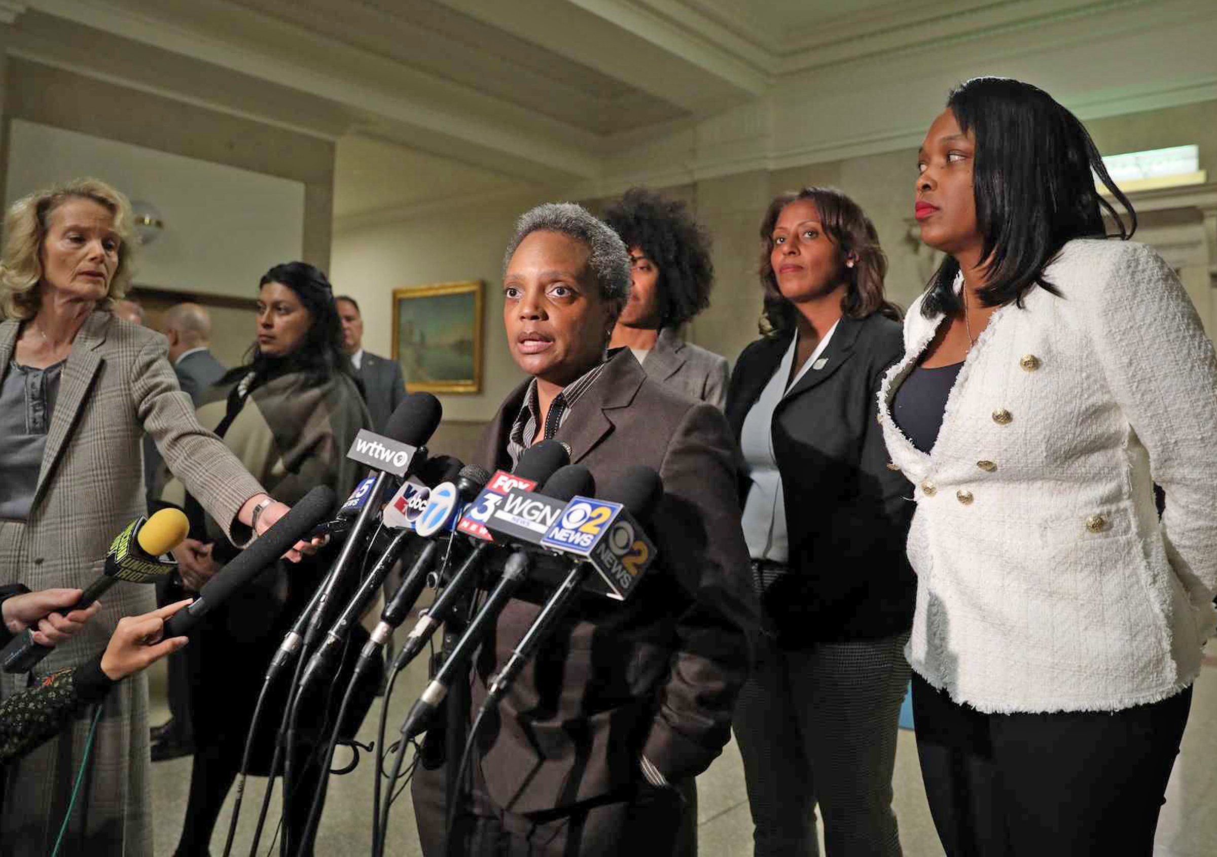 Mayor Lori Lightfoot on Thursday, discussing the deal reached with the Chicago Teachers Union that has halted their strike.