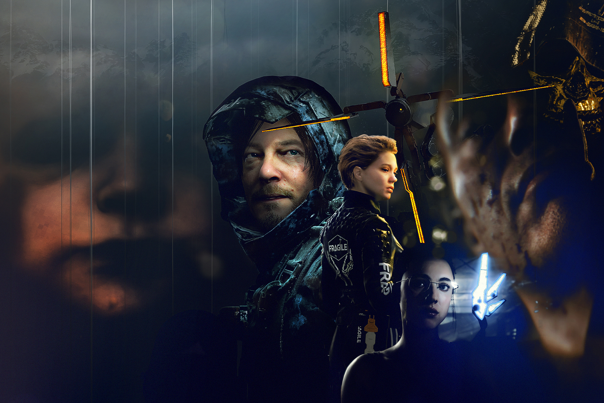Collage illustration featuring characters from the Death Stranding video game