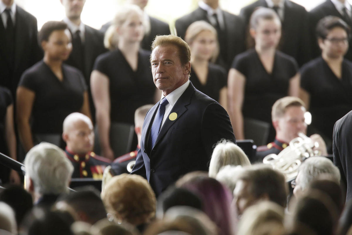Former Calif. Gov. Arnold Schwarzenegger arrives for funeral services for Nancy Reagan at the Ronald Reagan Presidential Library, Friday, March 11, 2016 in Simi Valley, Calif.