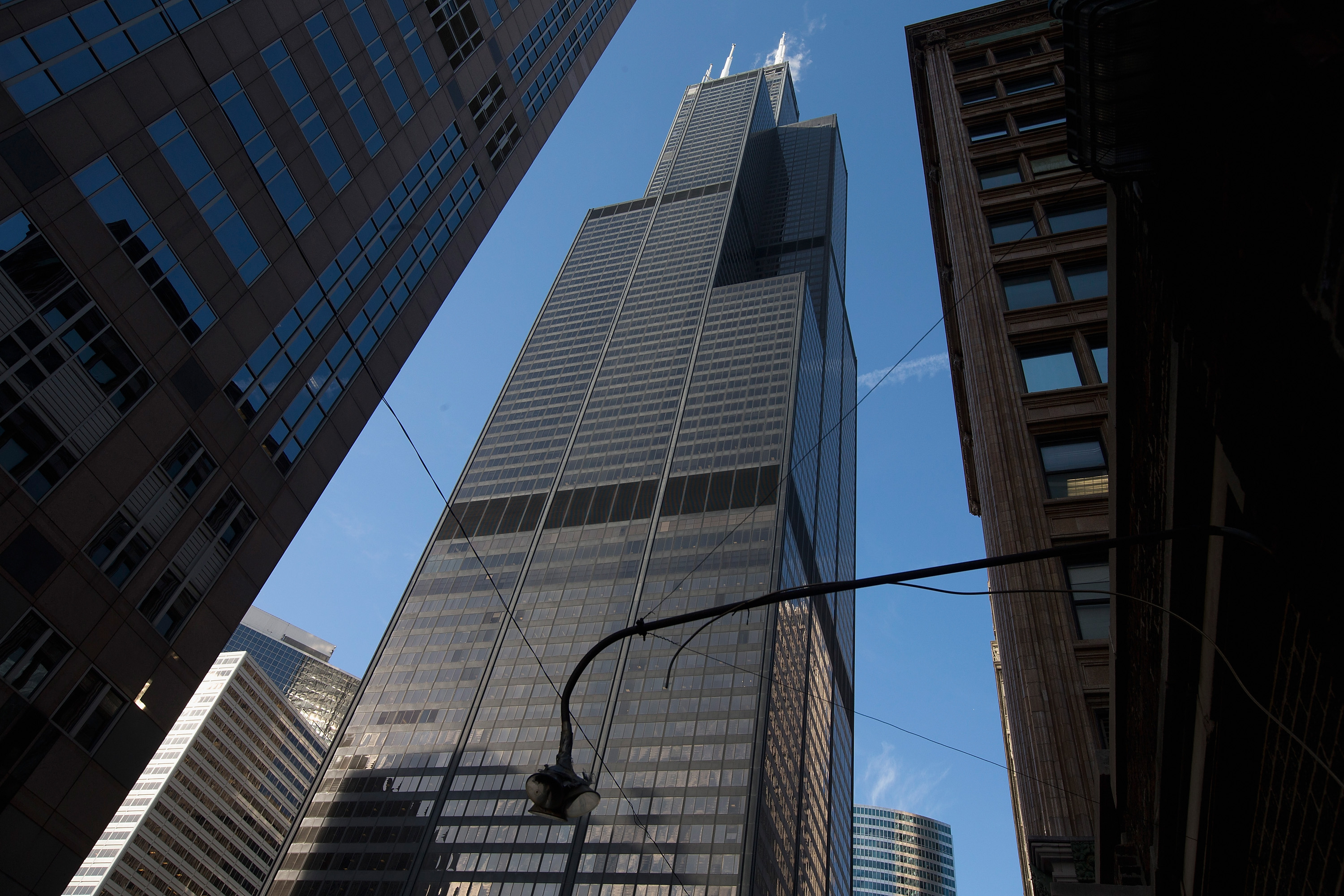 Police closed a road near Willis Tower Nov. 1, 2019, due to falling ice.
