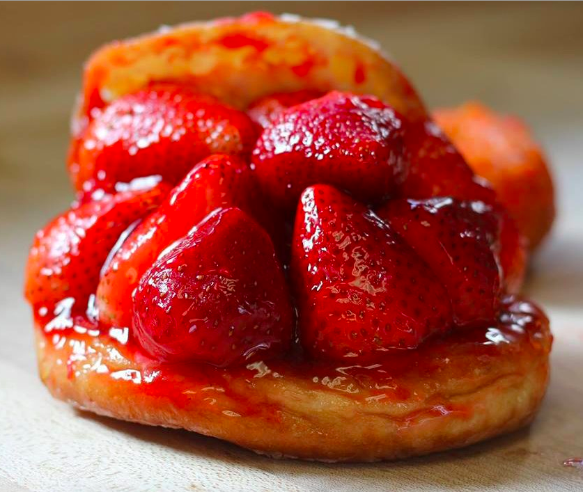 A strawberry donut from The Donut Man