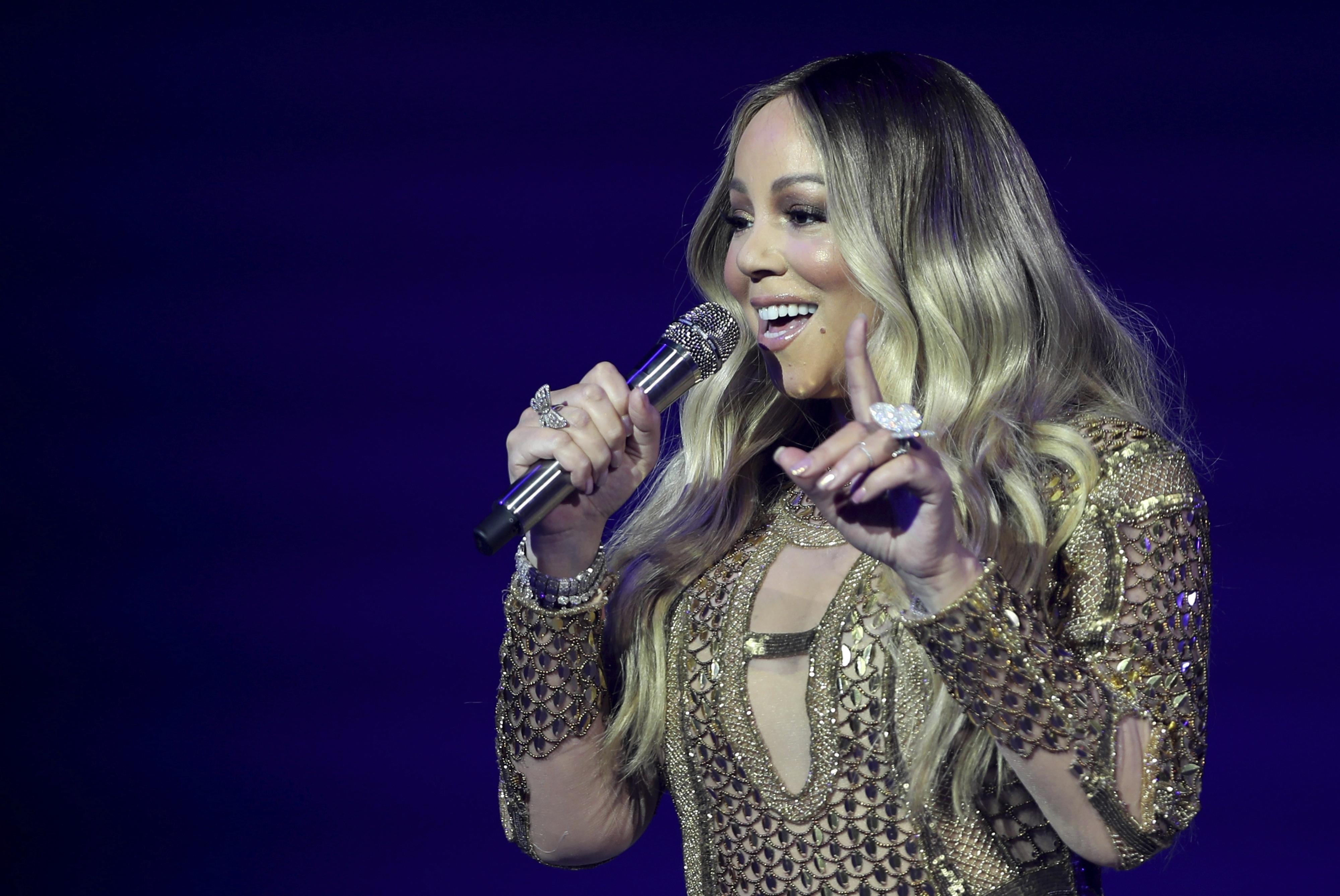 Mariah Carey performs during a concert celebrating Dubai Expo 2020 One Year to Go, in Dubai, United Arab Emirates, Sunday, Oct. 20, 2019.