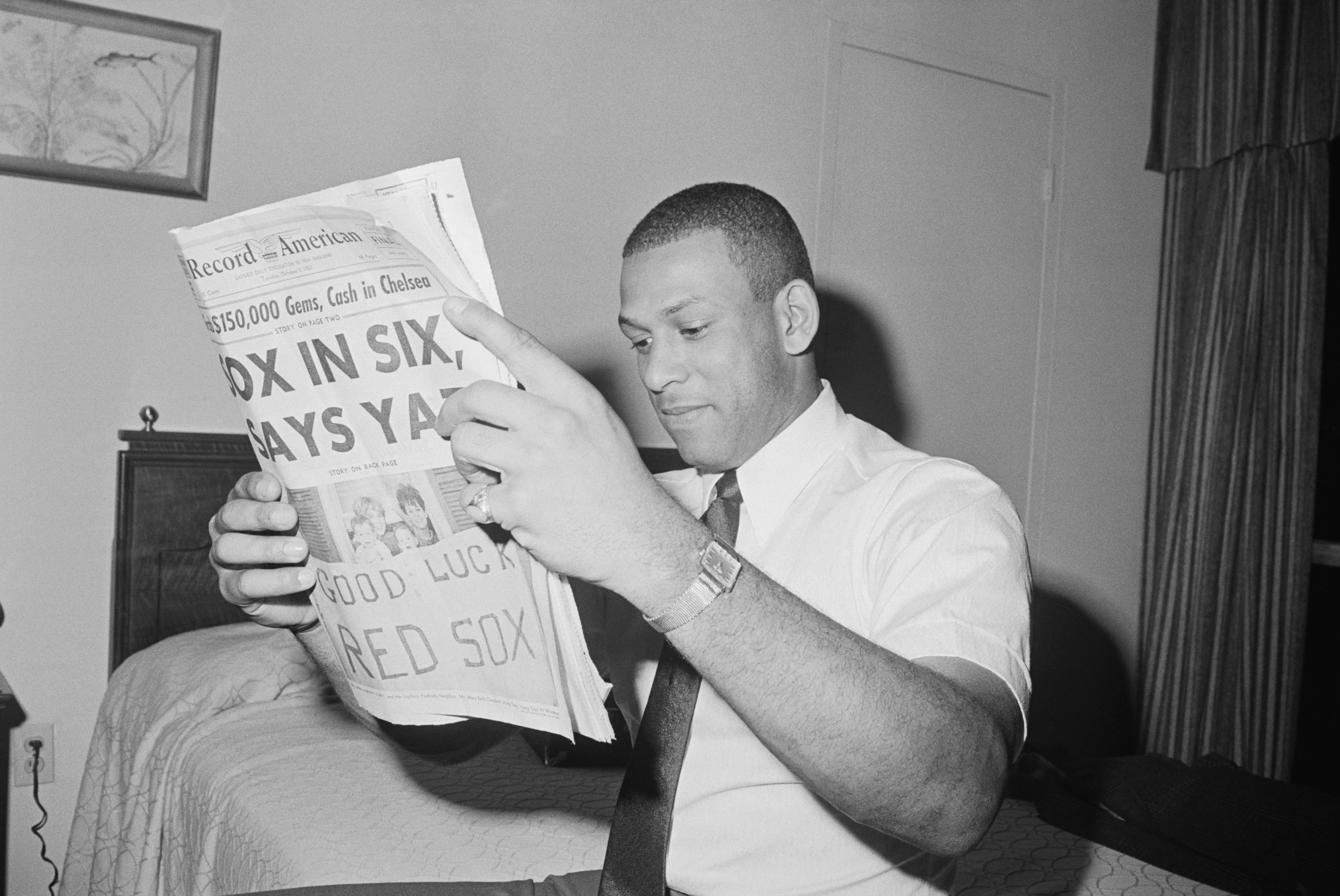 St. Louis Baseball Player Orlando Cepeda Reading Newspaper