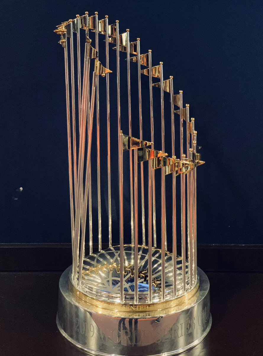 Here is a picture of the World Series trophy, broken.