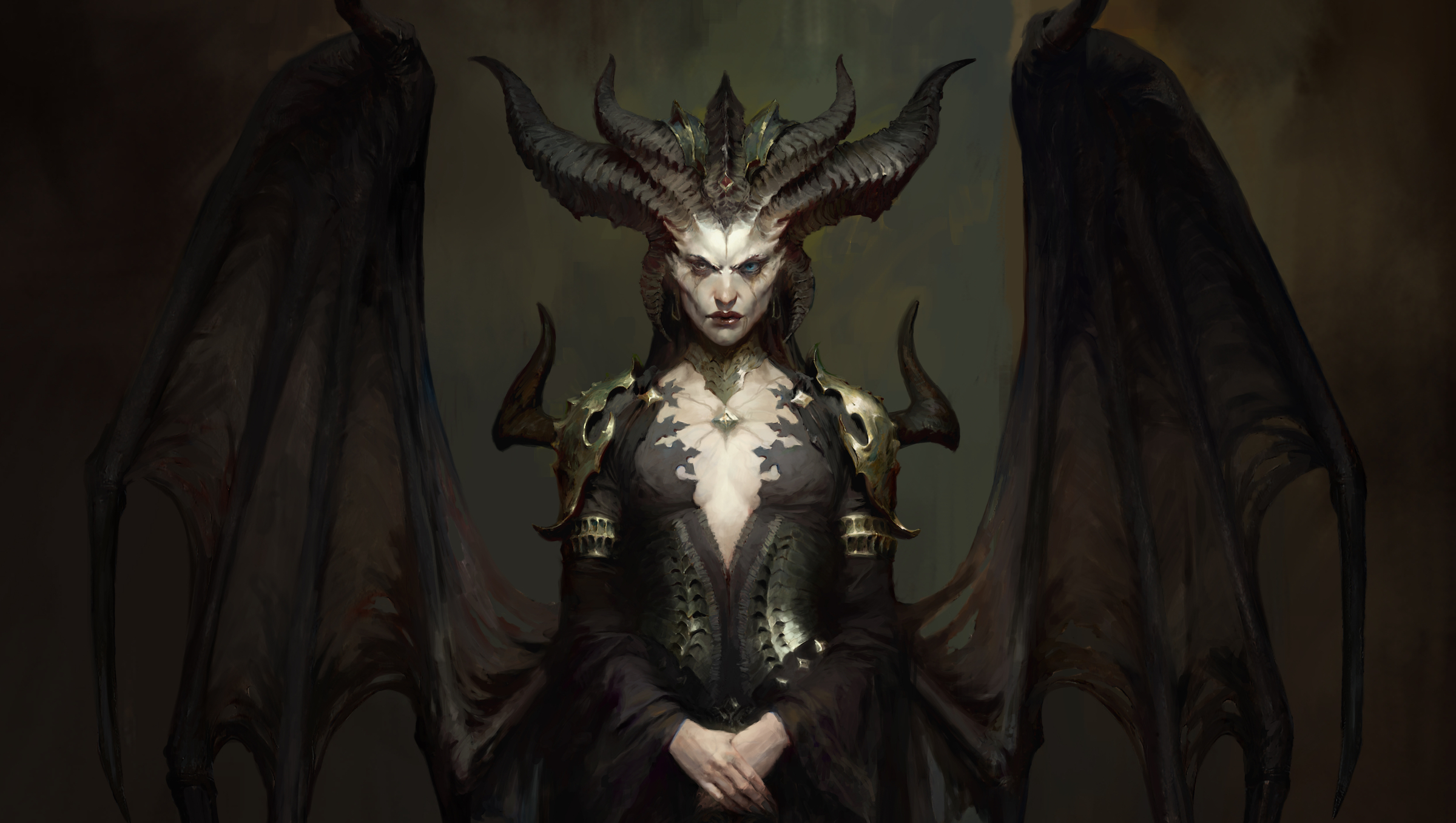 Diablo 4 - concept art of Lilith, the daughter of Mephisto. She is a horned woman with massive wings and an intimidating expression.
