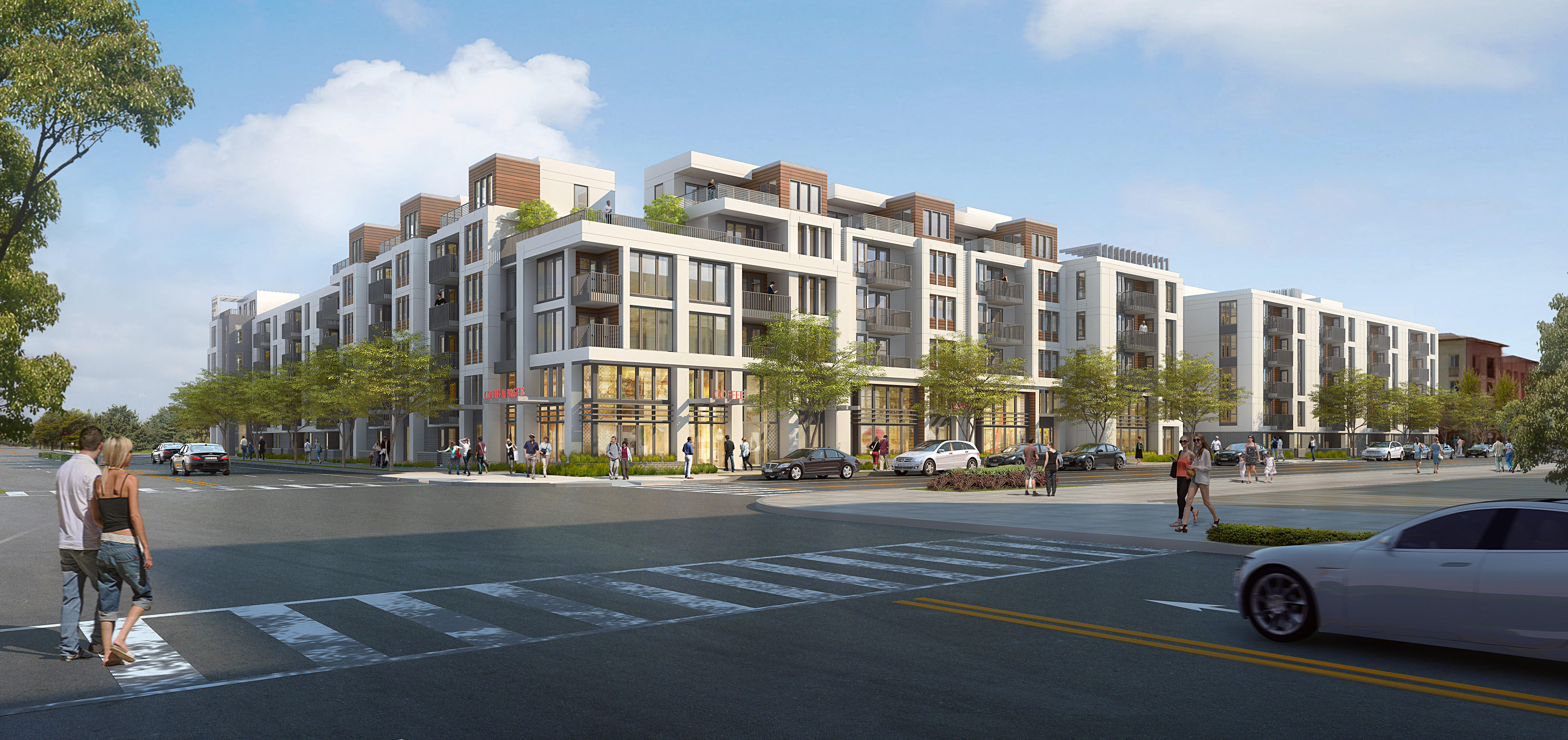A rendering of a three-story housing development in Fremont.