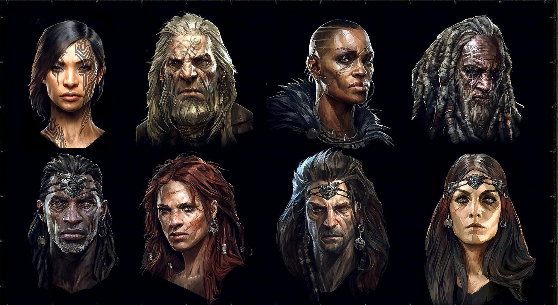 A selection of barbarian hero class portrait arts by Blizzard, showed off during the Diablo 4 panel at BlizzCon