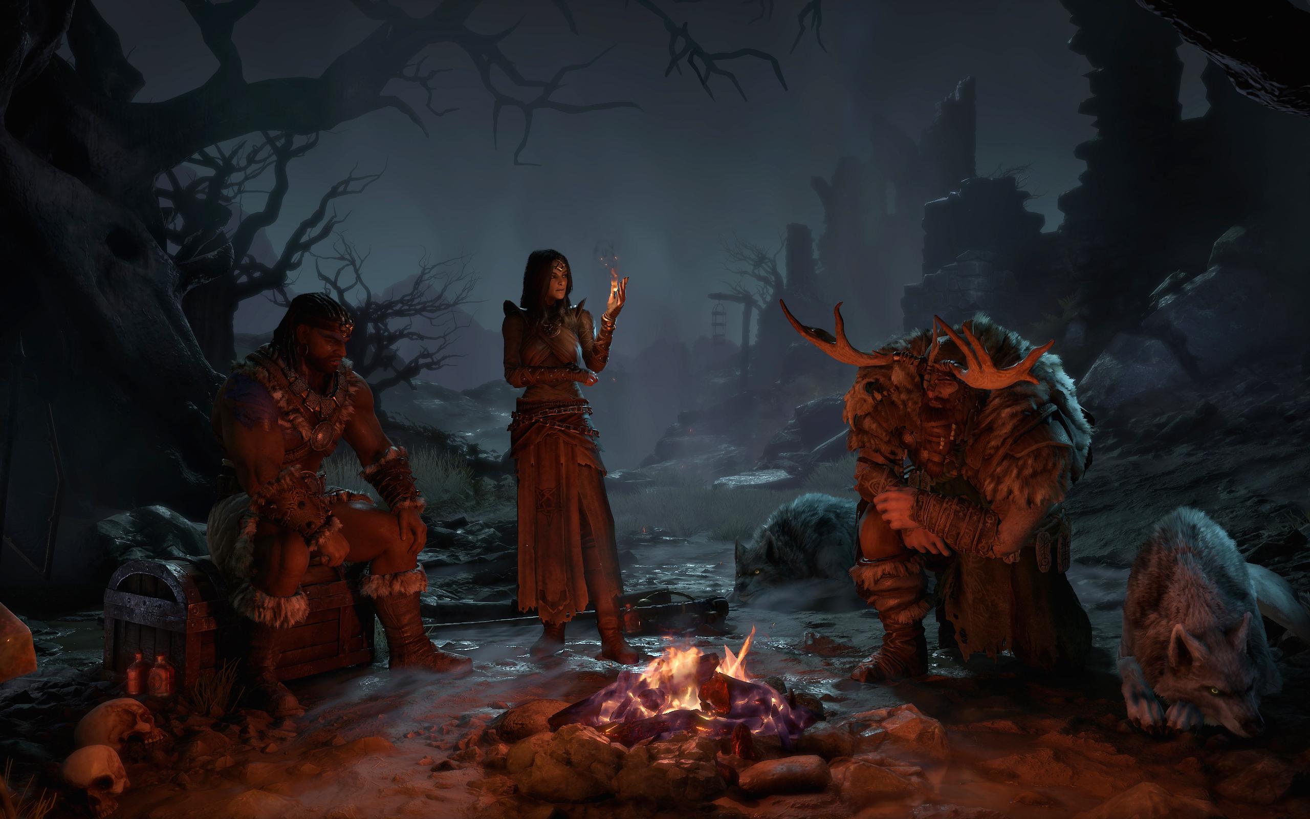 Diablo 4 character select campfire
