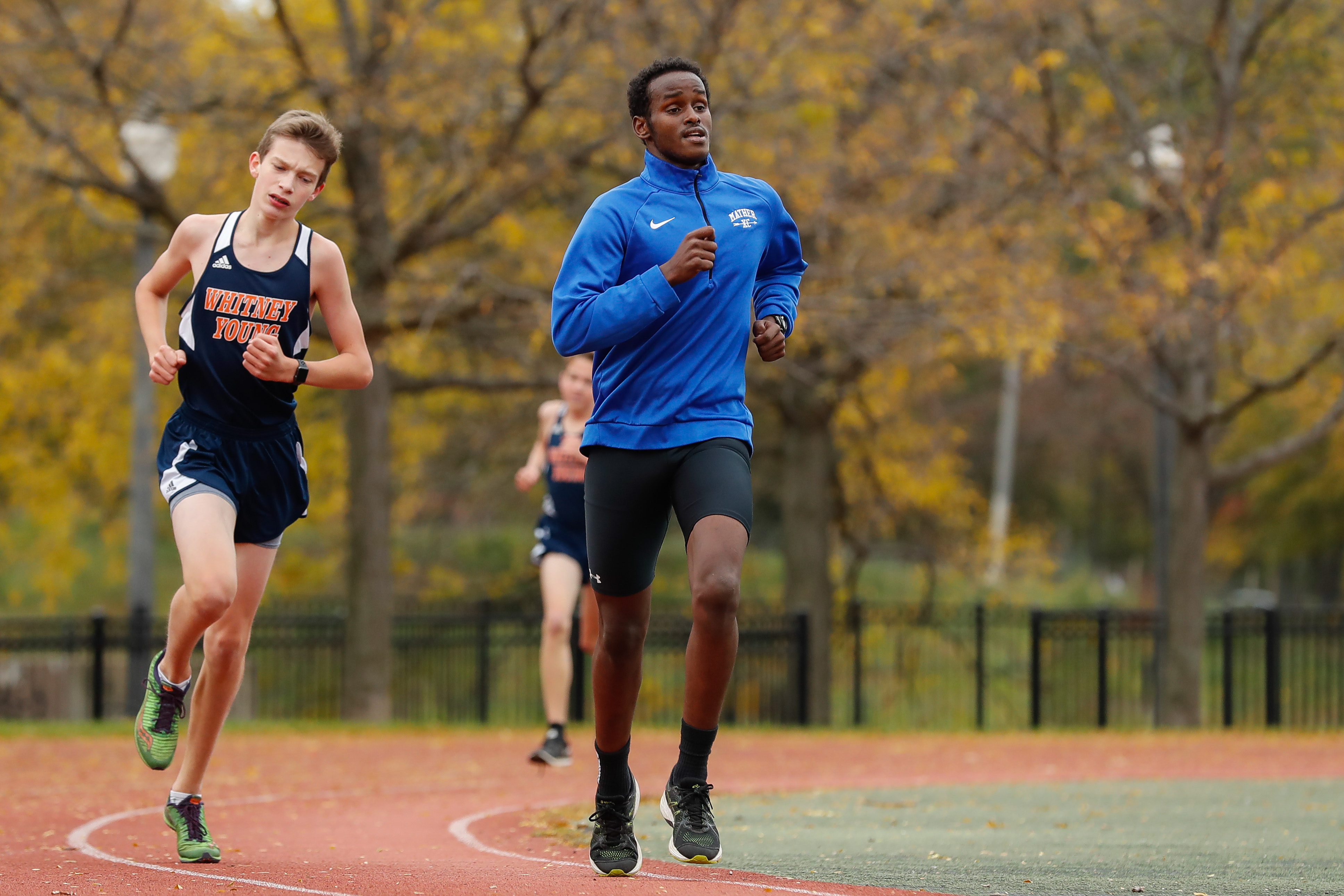 Mather's Anas Hirsi runs in the meet at River Park.