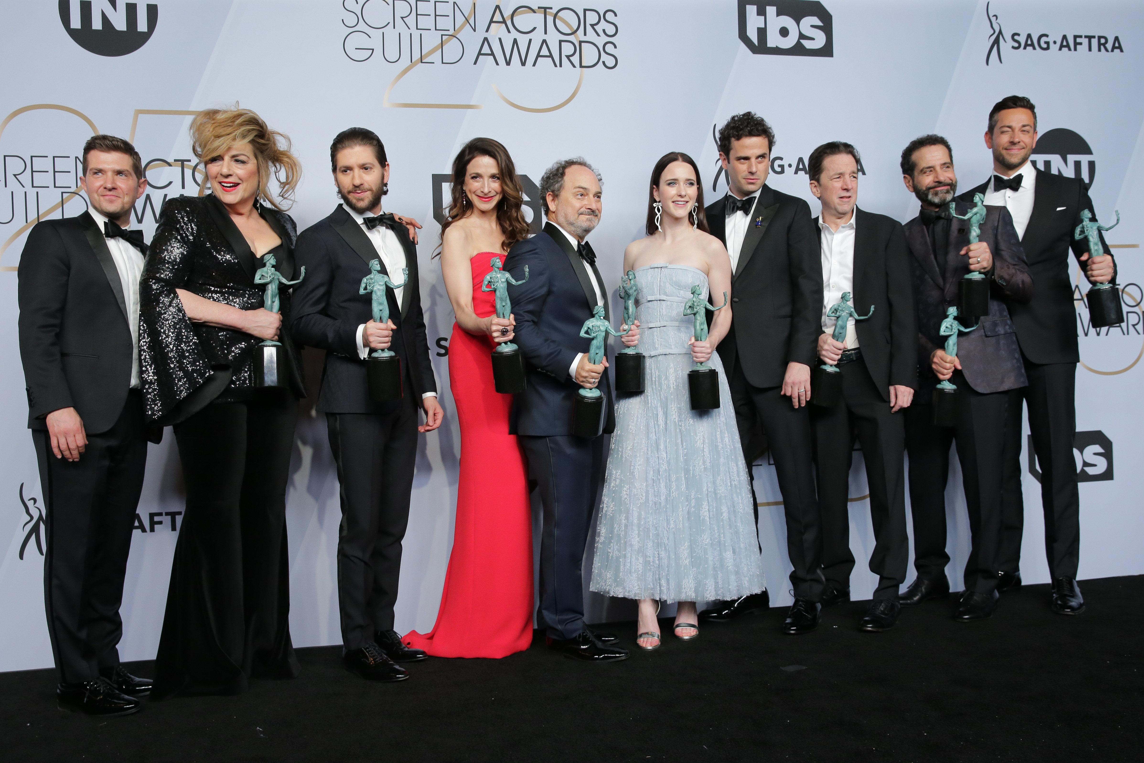 """Brian Tarantina (third from right) is pictured with the cast of """"The Mavelous Mrs. Maisel"""" at the 25th annual Screen ActorsGuild Awards in January in Los Angeles."""