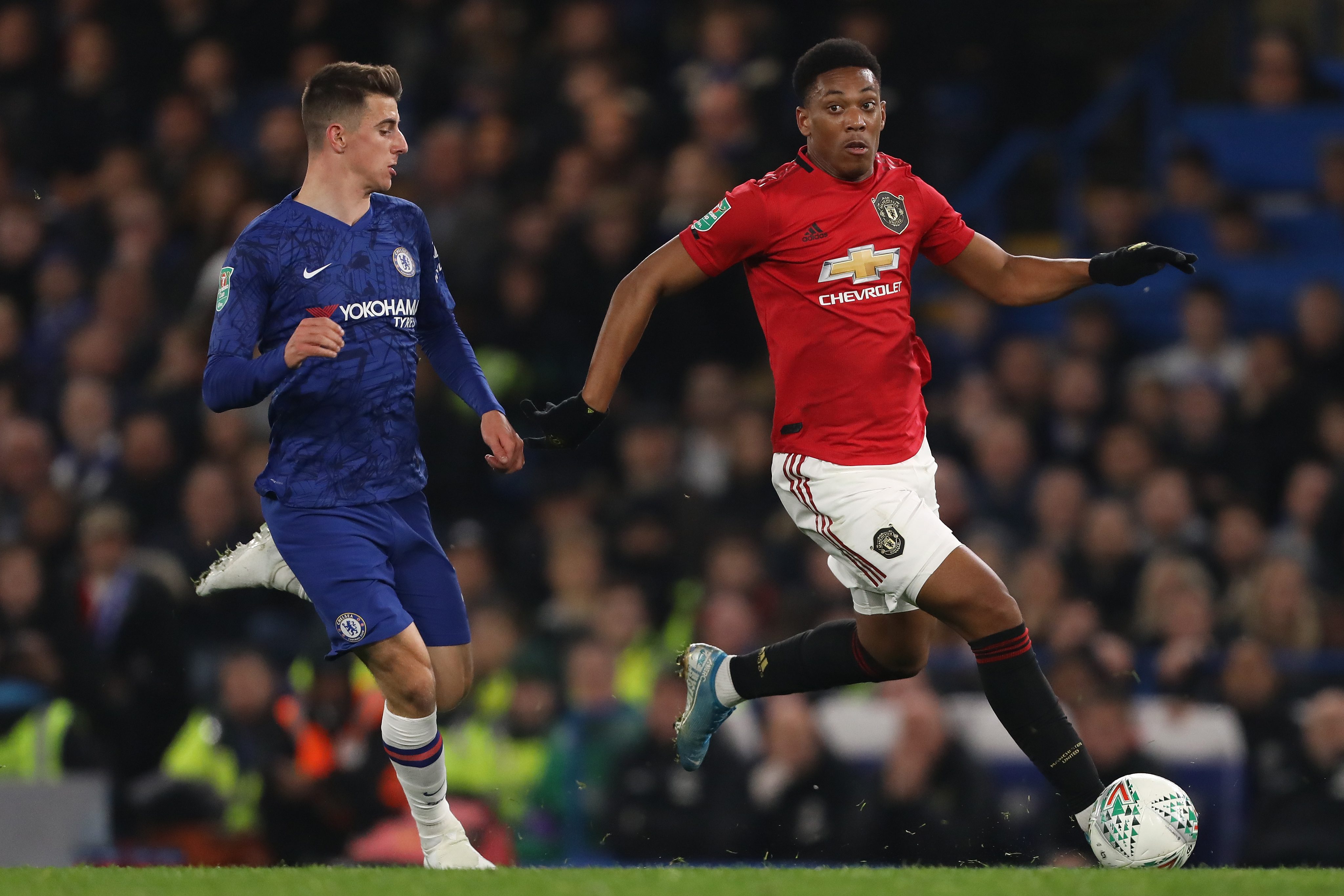Mason Mount of Chelsea and Anthony Martial of Manchester...