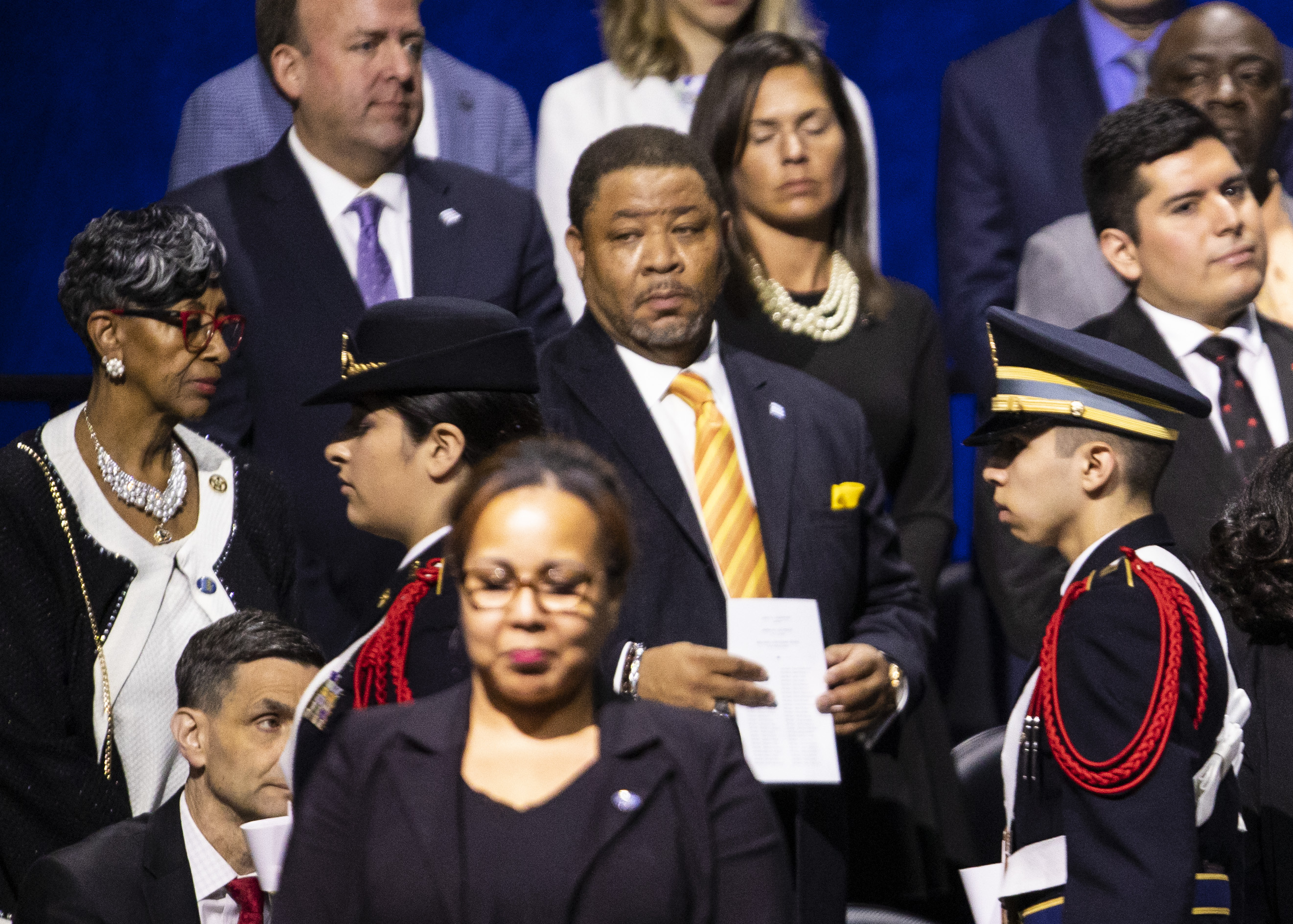 Ald. Carrie Austin (34th) and her chief of staff, Chester Wilson Jr. (center, yellow tie), at the May 20 inauguration of Mayor Lori Lightfoot.