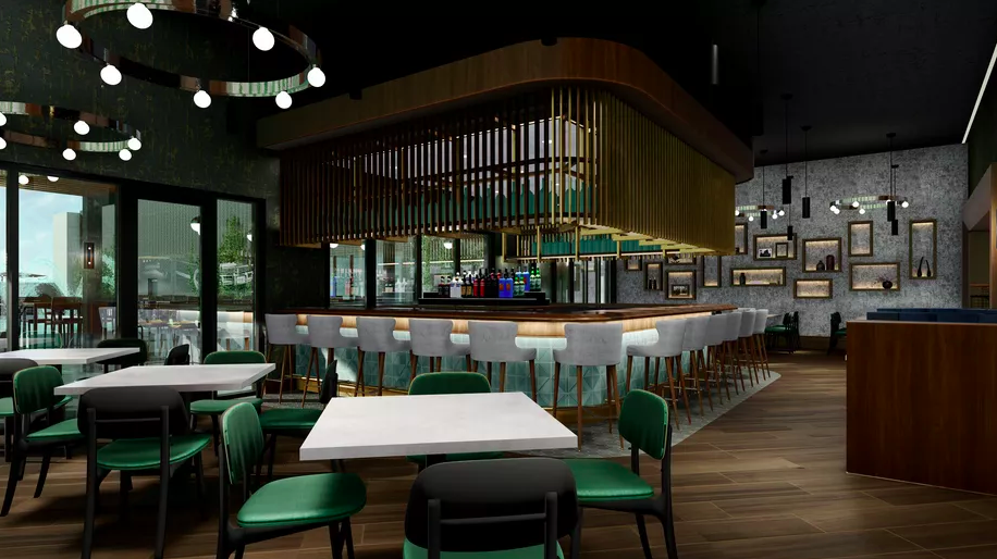 The rendering for an indoor section of a rooftop bar with wood details and green and white chairs at the Cambria Hotel in Detroit.
