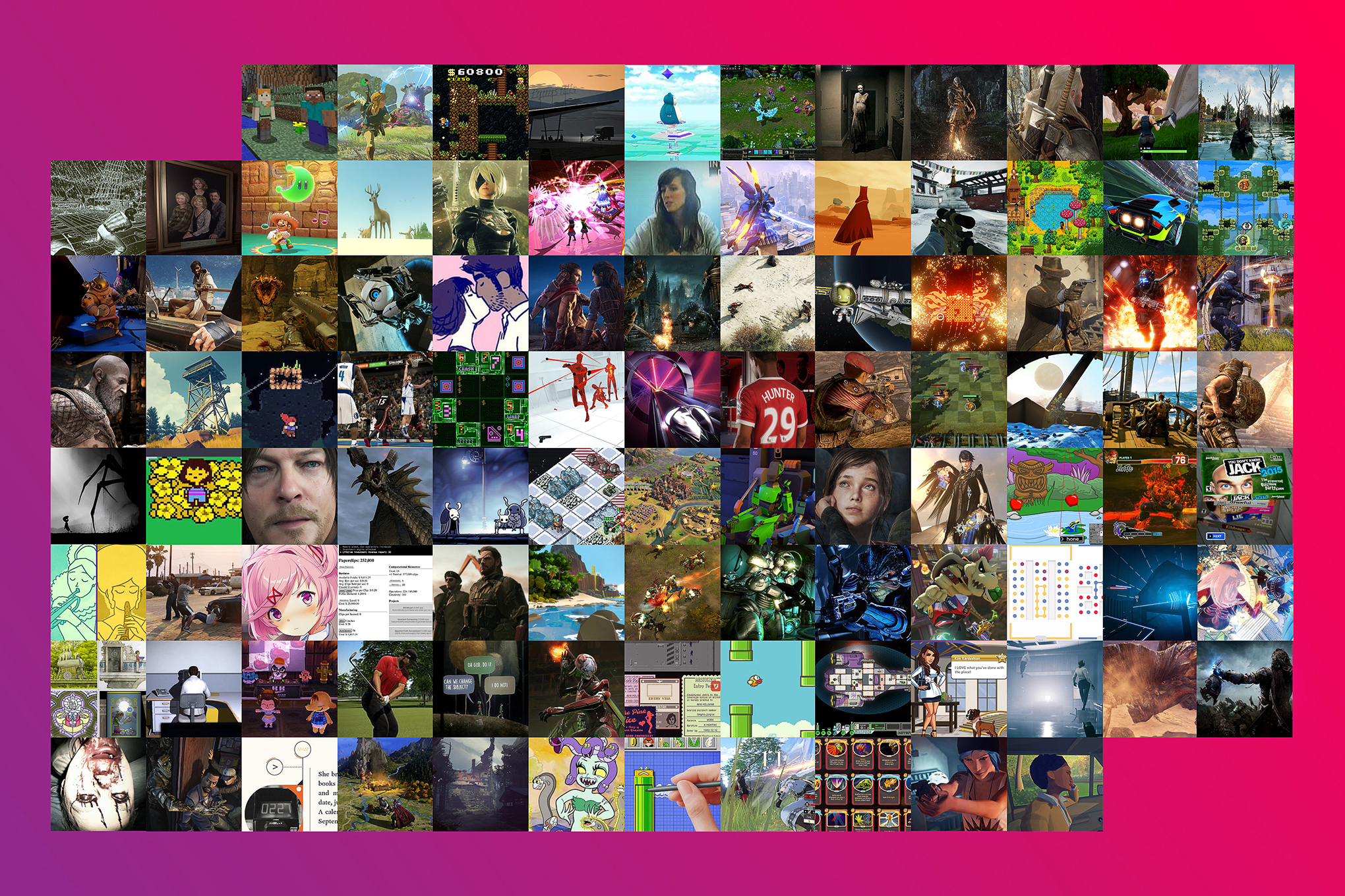 Mosaic of the top 100 games of the decade