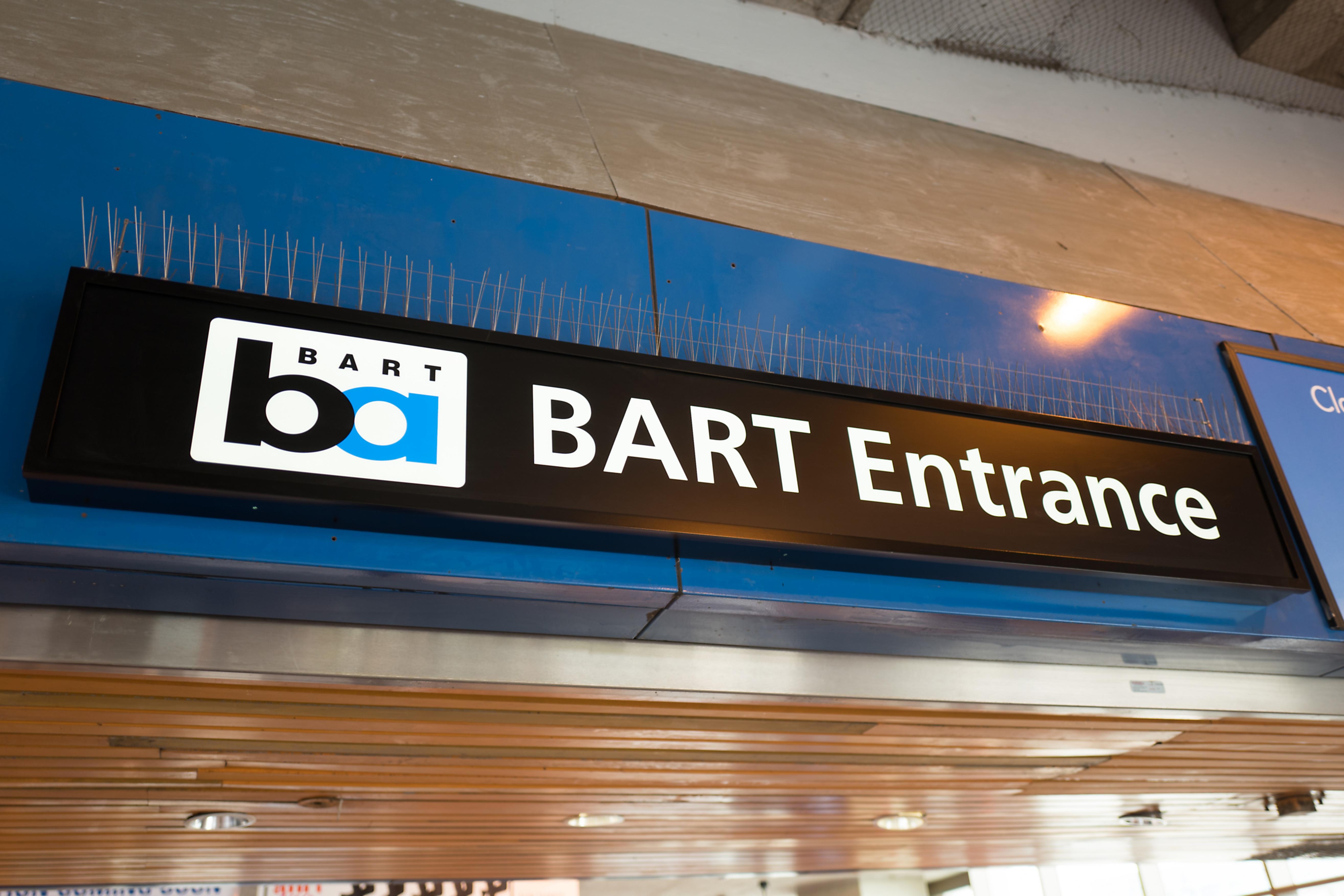 "A sign reading ""BART entrance."""