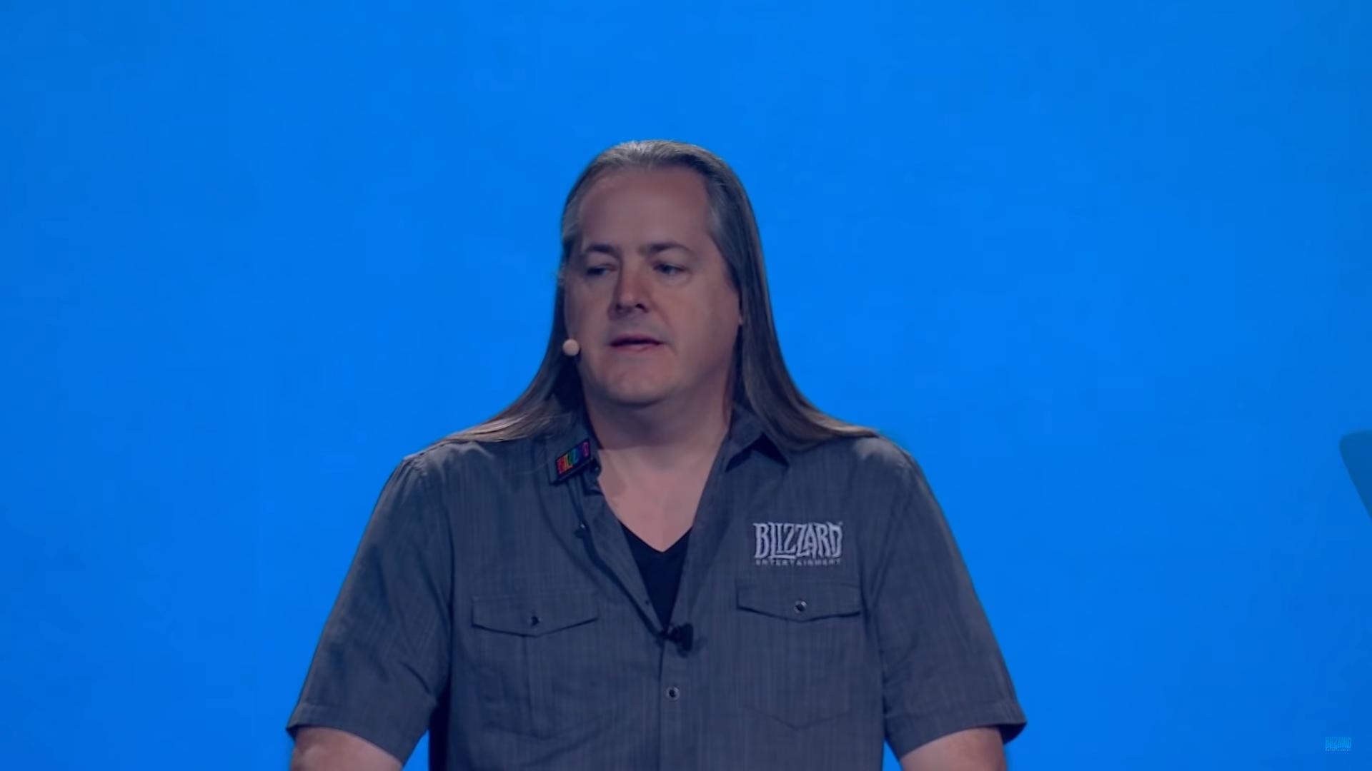 J. Allen Brack with a blue background, on the BlizzCon livestream