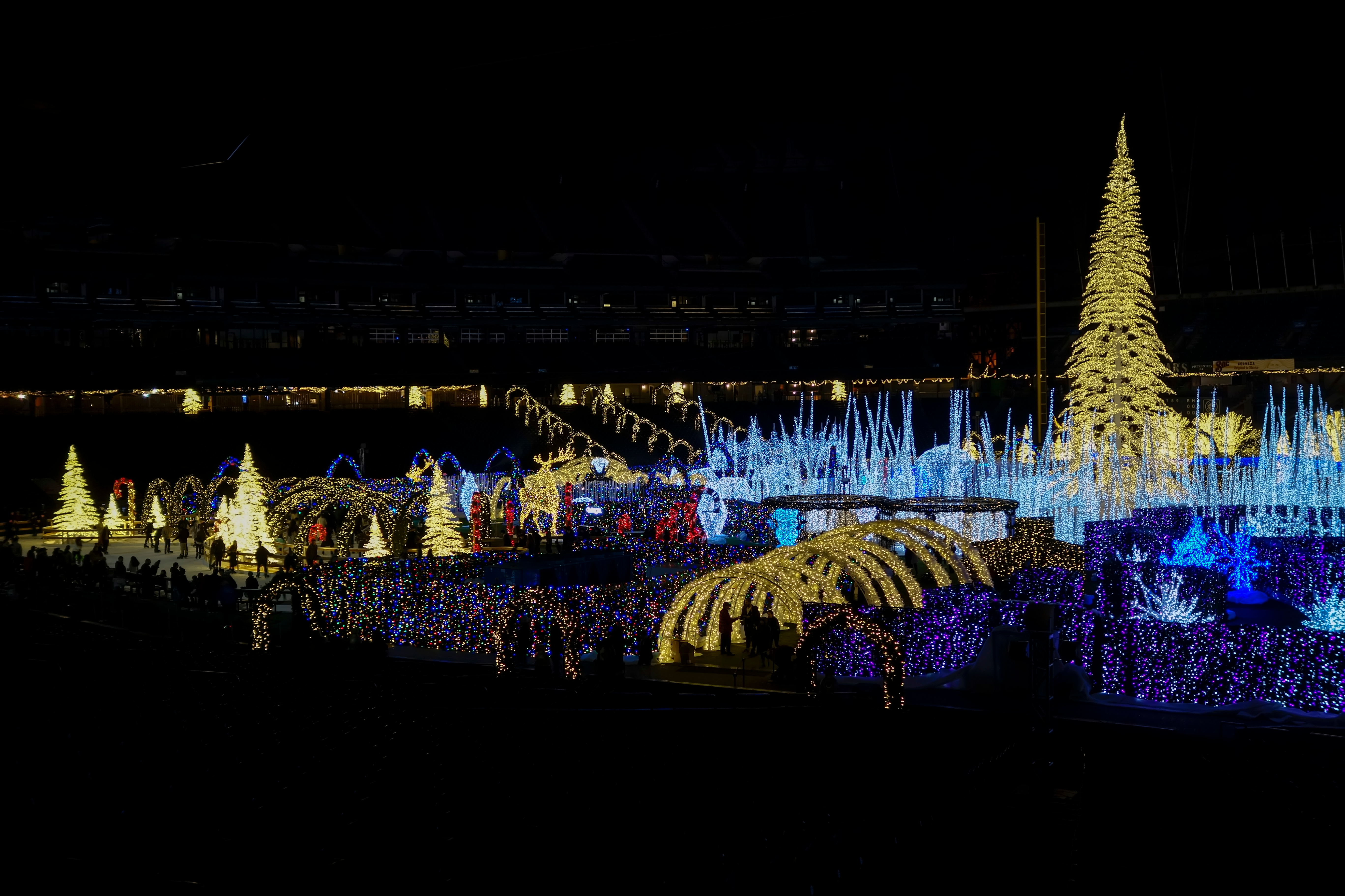 An elaborate light display, including a corridor of arches lit in white, a large christmas tree lit in white to the right surrounded by light blue lights spiking up from the ground,, and smaller white-lit christmas trees to the left.