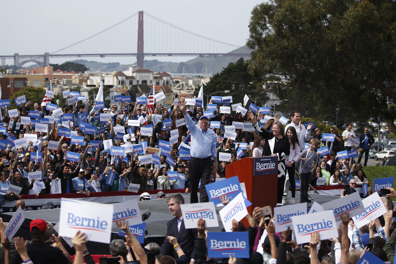 Bernie Sanders speaking at a rally in San Francisco.