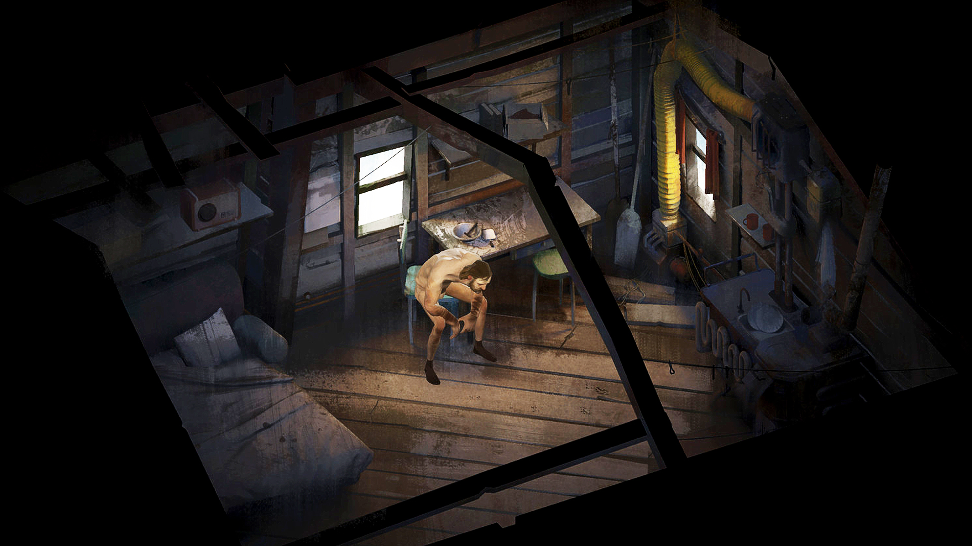 a naked man sits alone on a chair in a shack in Disco Elysium