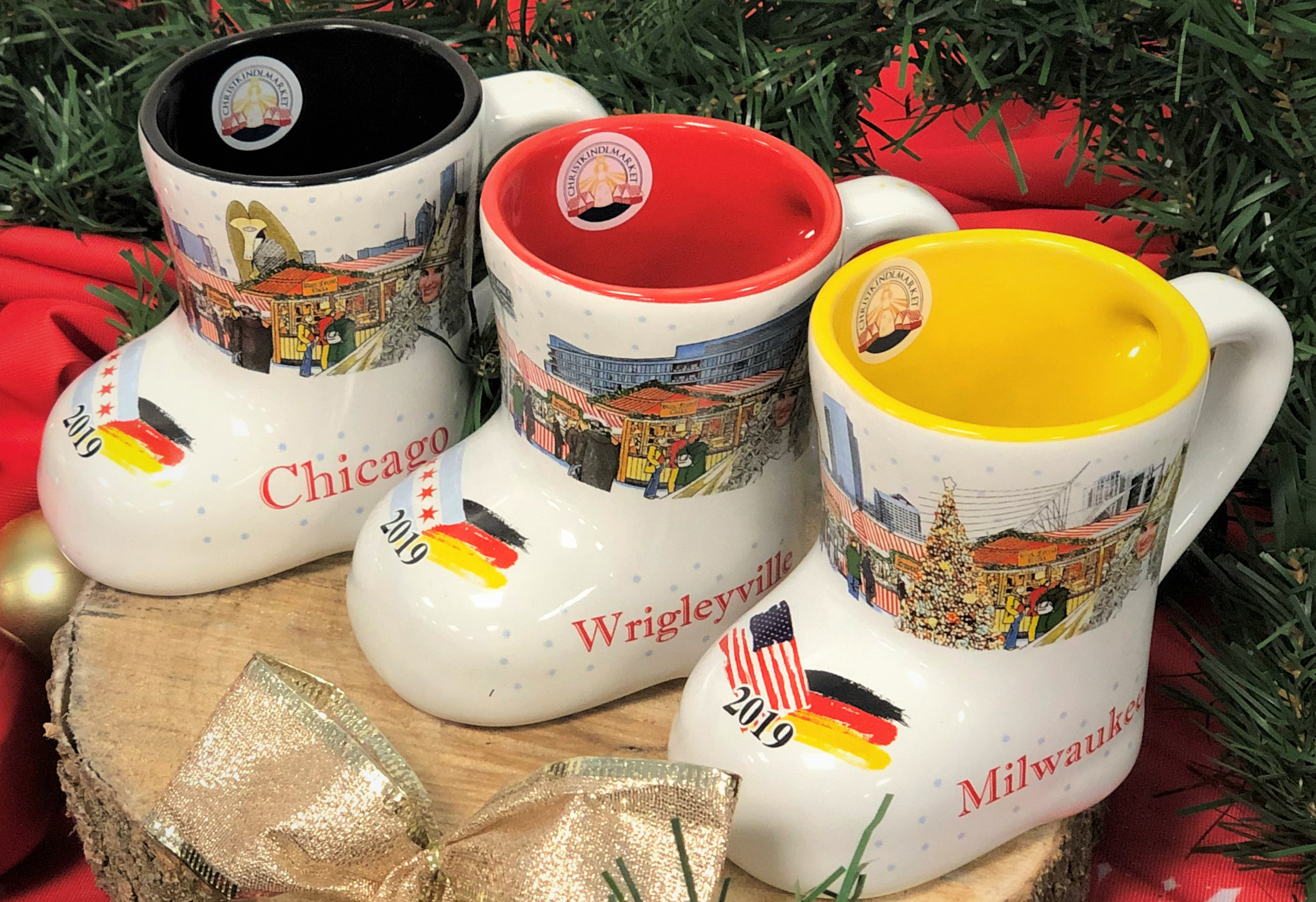 The 2019 Christkindlmarket mugs feature decorative details from Chicago, Wrigleyville or Milwaukee marketplaces.