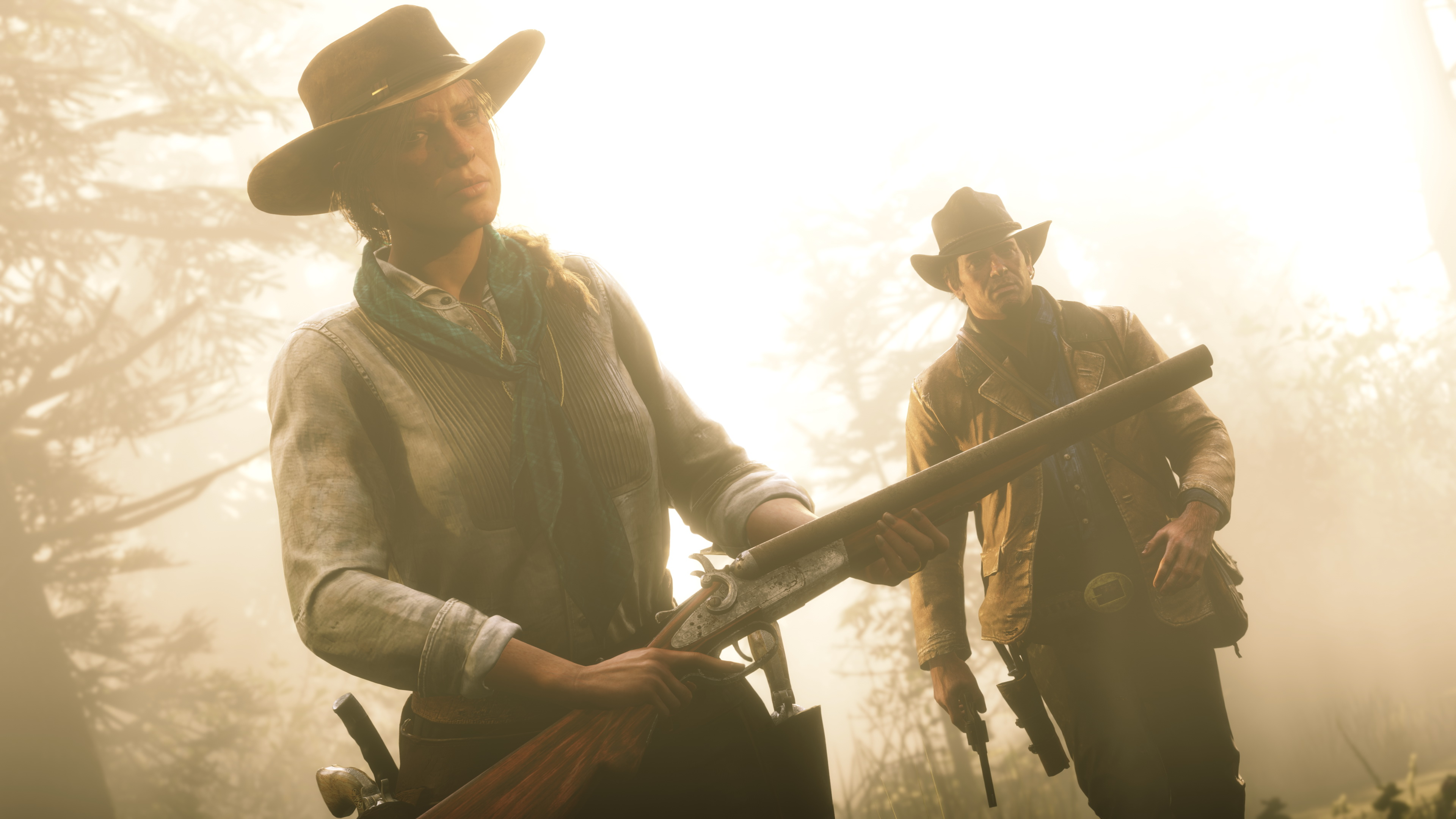 a woman and a man, both wearing cowboy hats and holding guns, in Red Dead Redemption 2