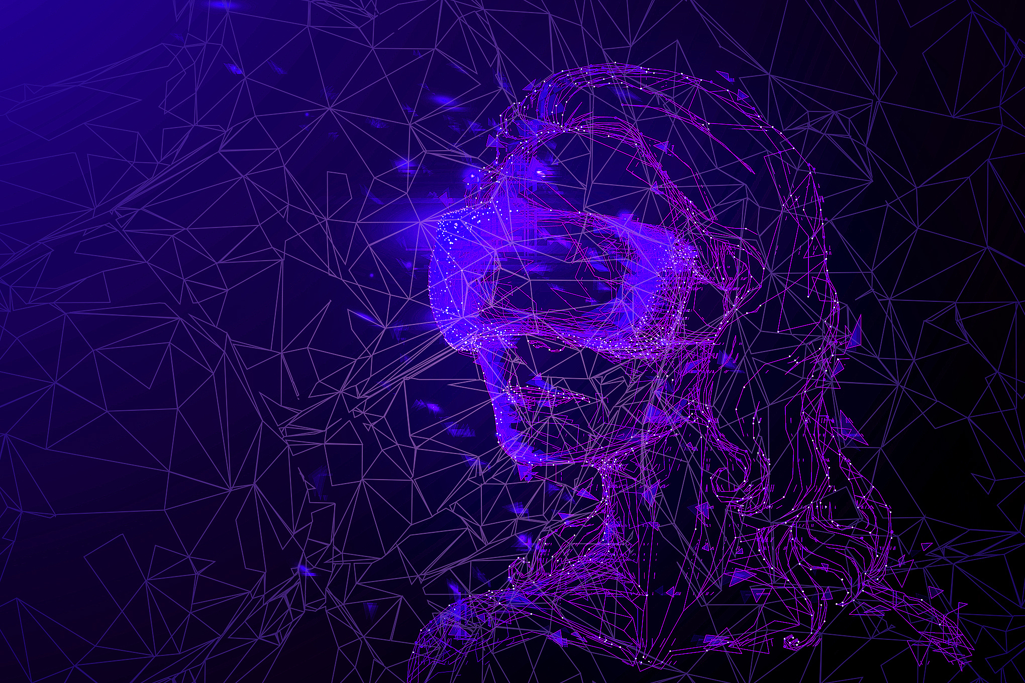 a blue and purple wireframe model of a woman wearing a VR headset