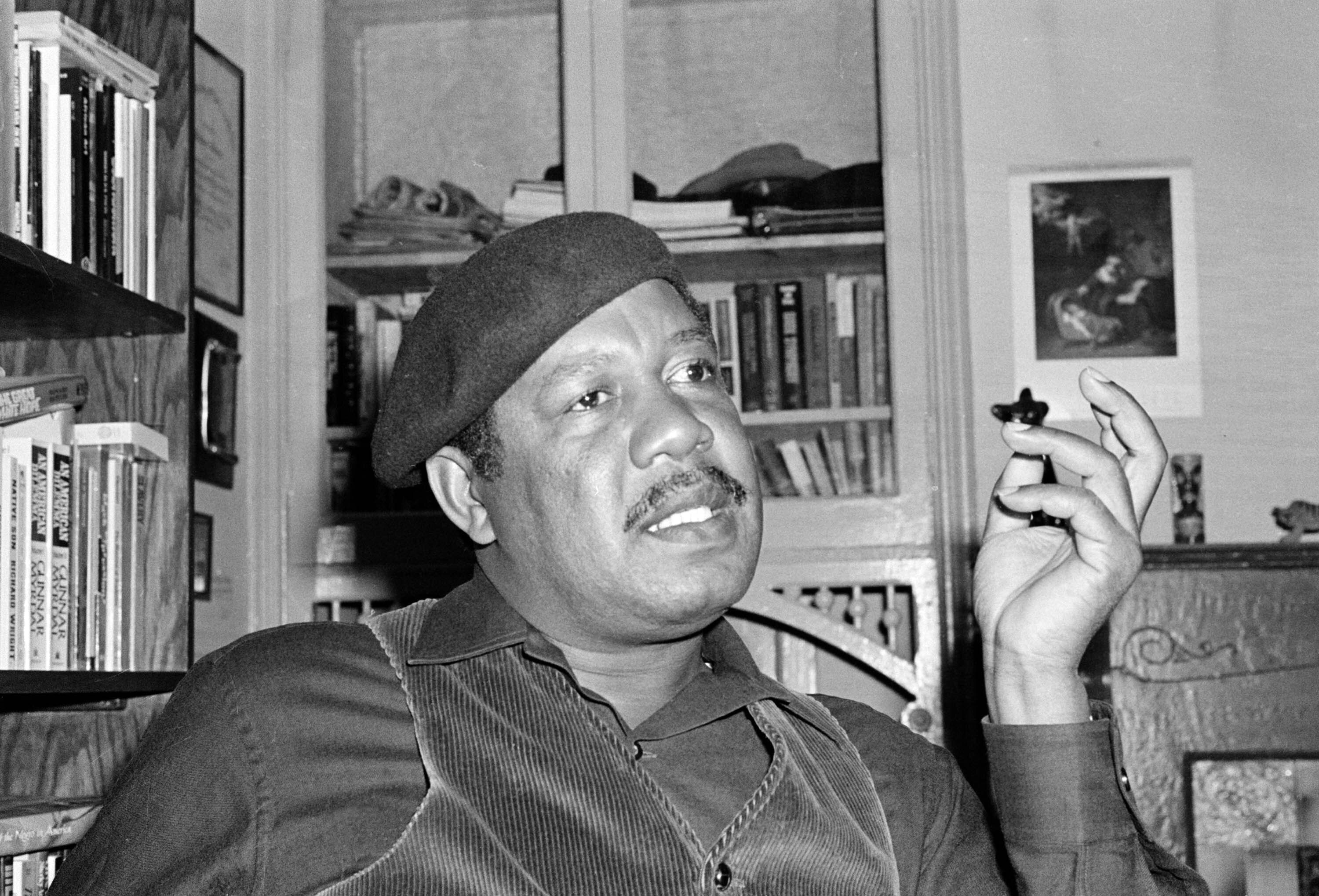 """This 1977 file photo shows author Ernest Gaines who wrote """"The Autobiography of Miss Jane Pittman,"""" in his San Francisco home."""