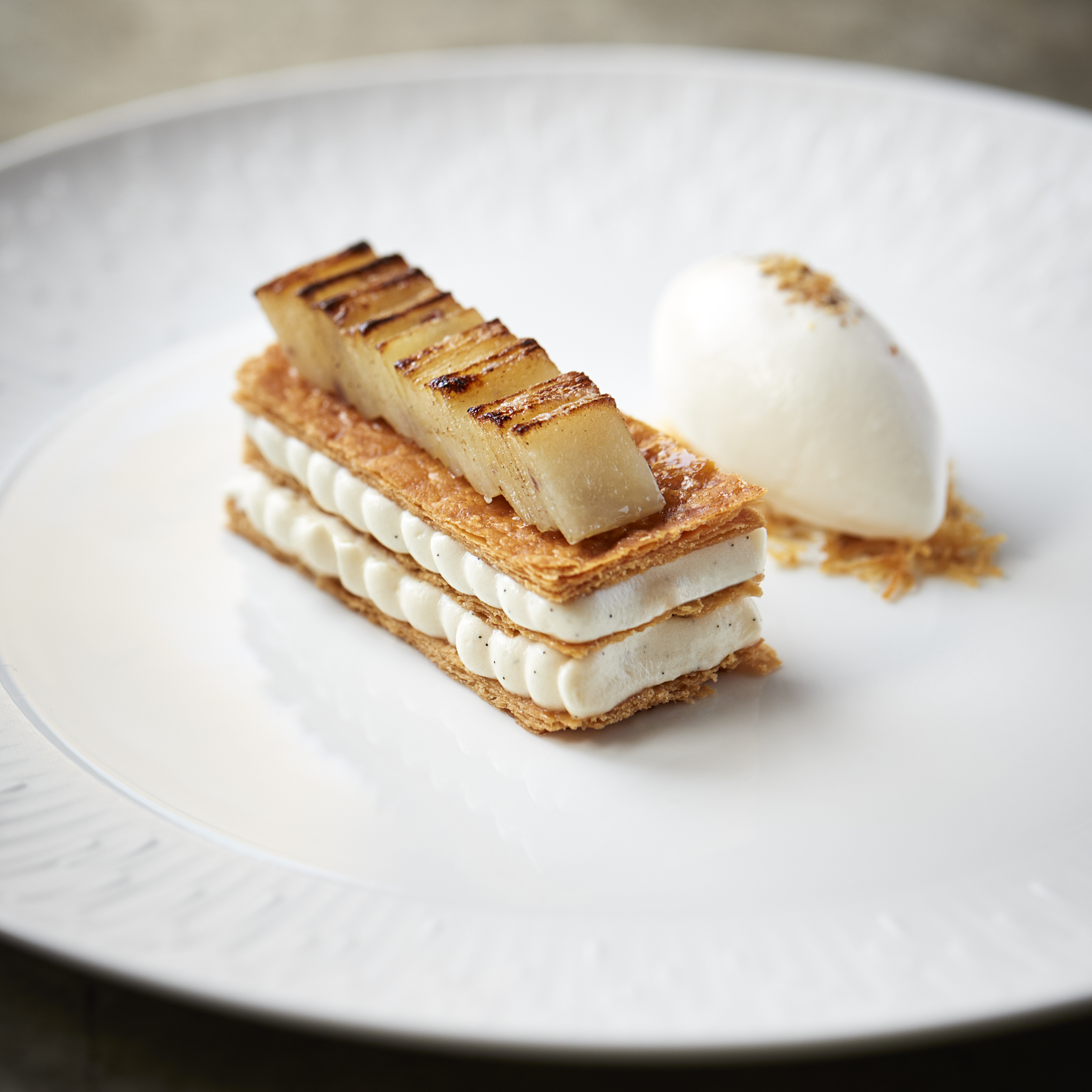 Potato millefeuille with sake and white chocolate at Trivet in London Bridge