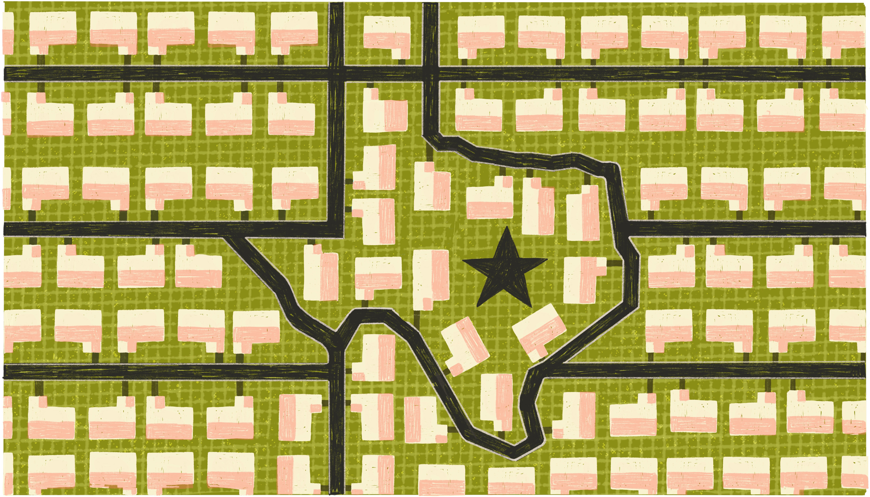 An aerial view of the roadways and homes in a suburban neighborhood. The homes are all the same and arranged very neatly. The roads form the outline of the state of Texas. Illustration.