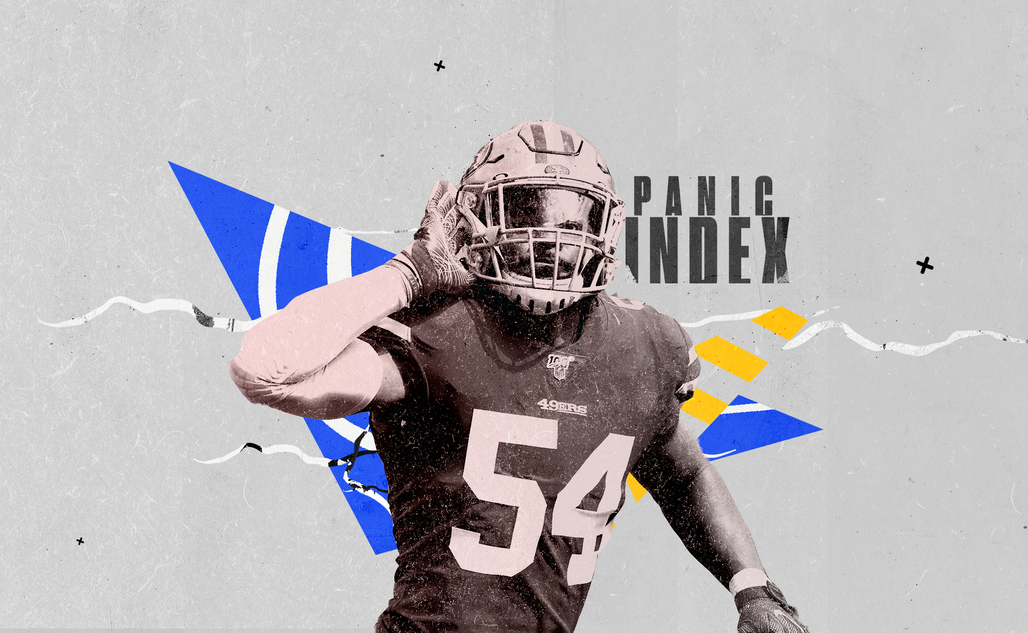 49ers LB Fred Warner holds his hand up to his ear, superimposed on a blue background with white and yellow designs, and the words PANIC INDEX.