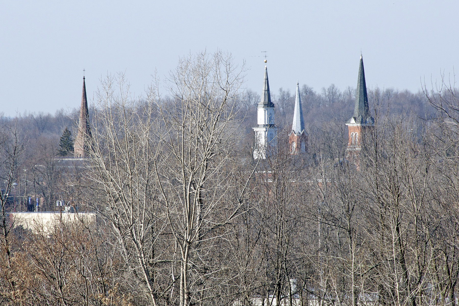 "Steeples of the ""four corners"" churches, Palmyra, New York."