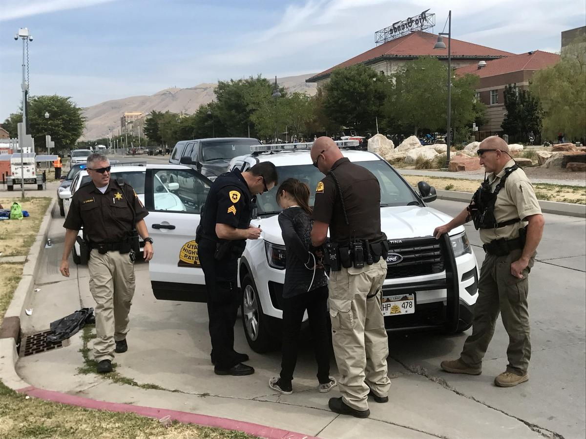 """Tawnee, who had a camp set up along 500 West and who said she has been addicted to drugs """"a long time,"""" is arrested on 13 outstanding warrants during Operation Rio Grande on Monday, Aug. 14, 2017."""