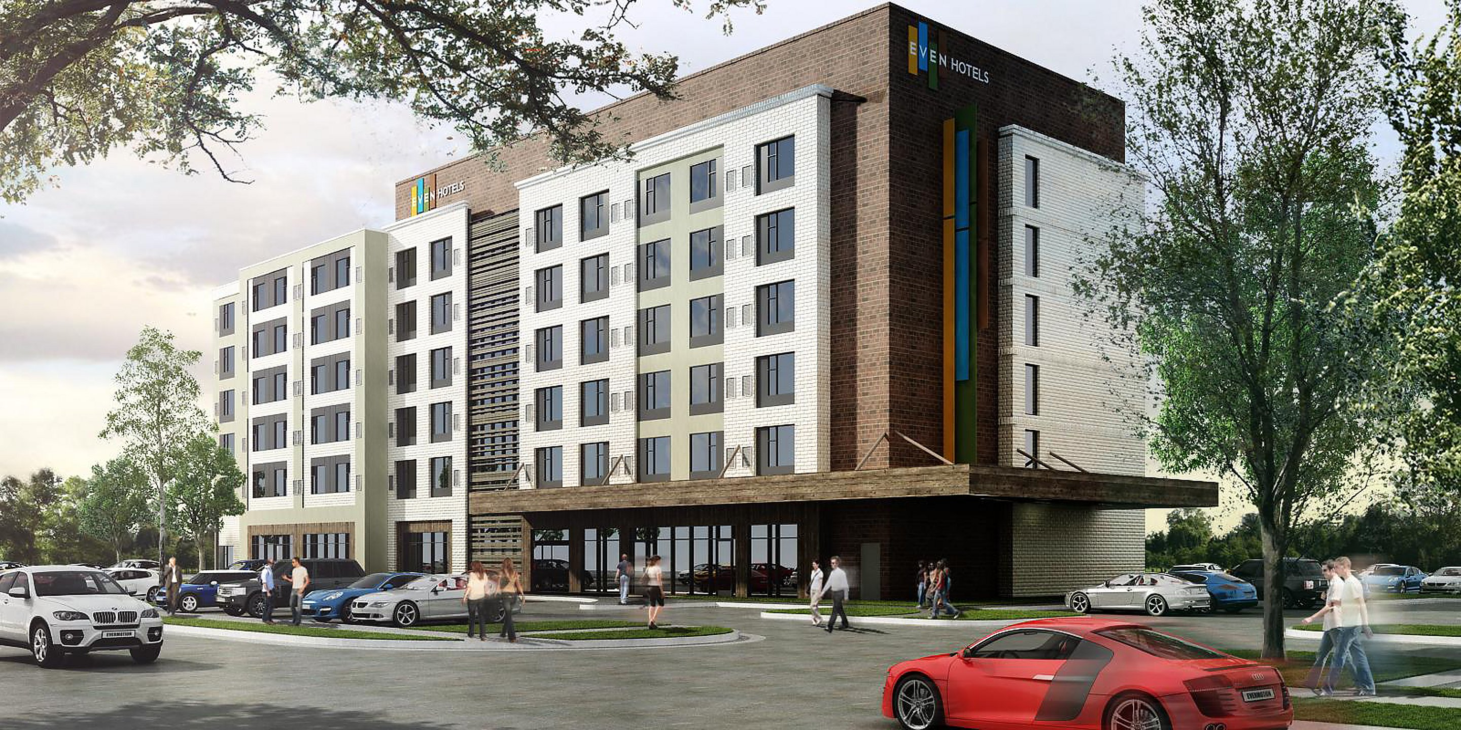A rendering of the soon-to-open hotel, a heavily geometric building with wood paneling on the facade.