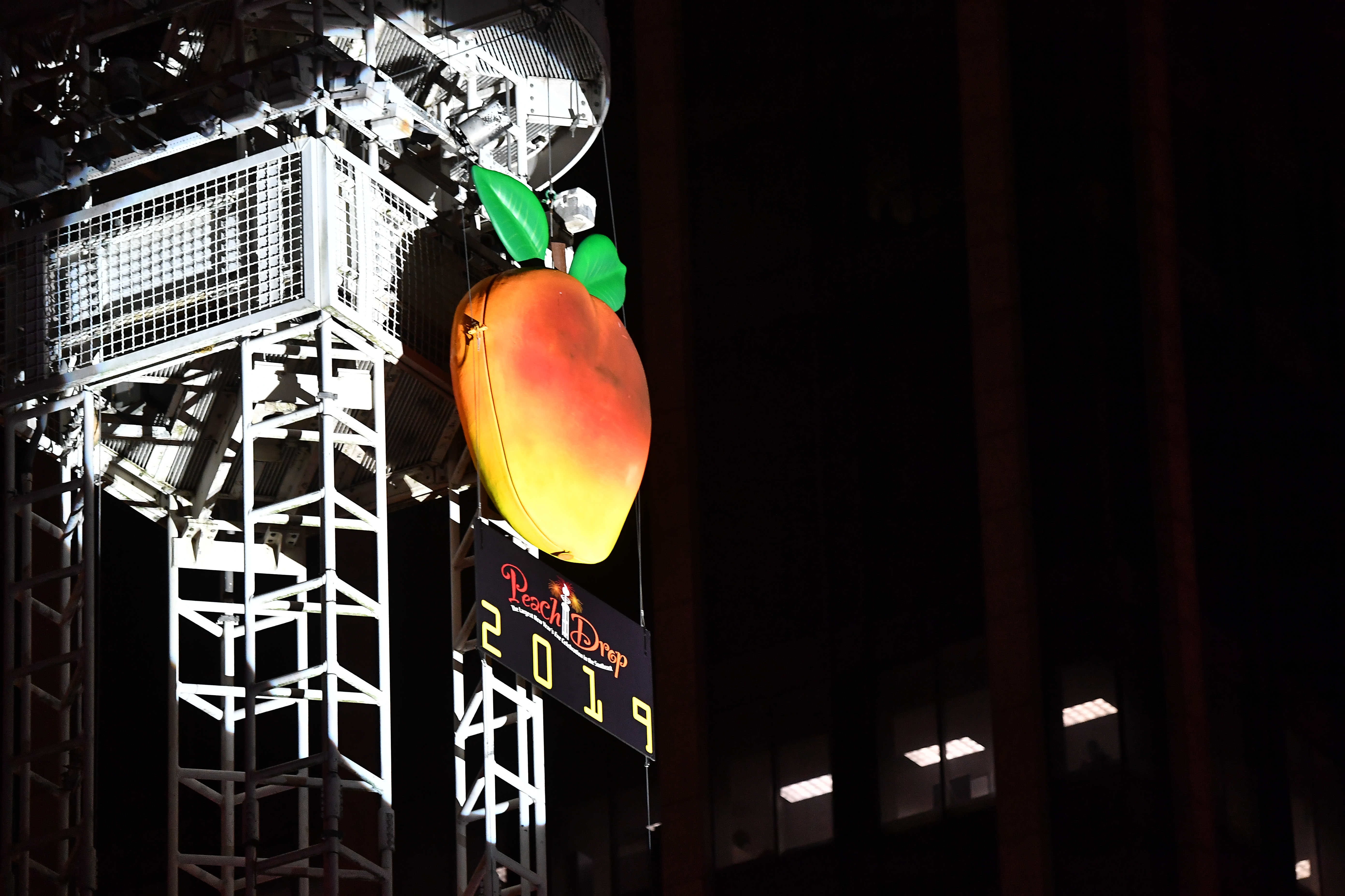 A picture of the massive peach dropped each New Years Eve in downtown Atlanta.