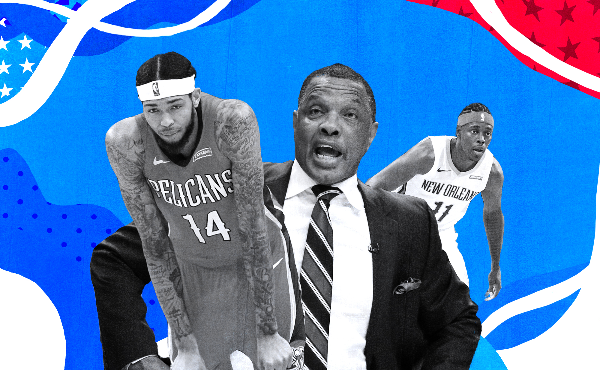 A collage of Brandon Ingram (left), Alvin Gentry (center), and Jrue Holiday (right)