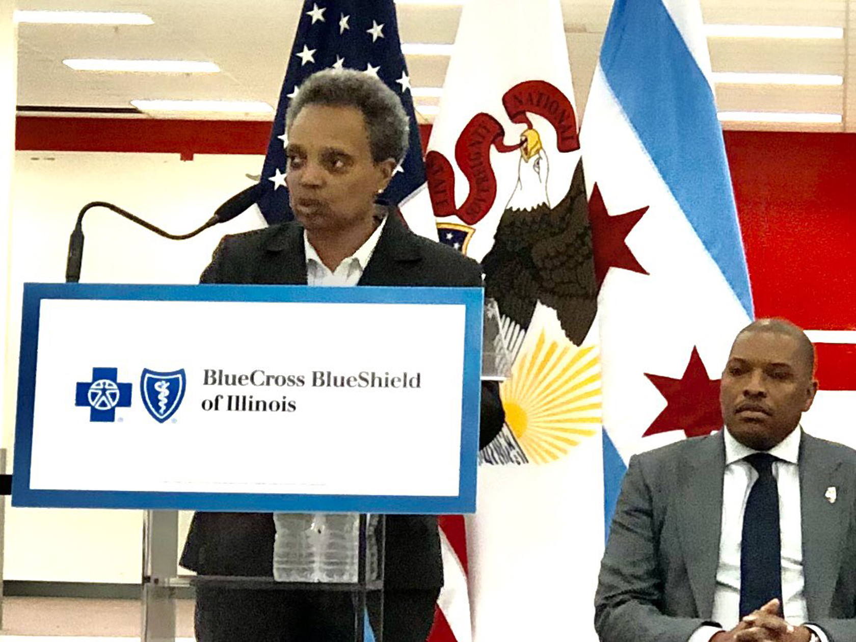 Mayor Lori Lightfoot speaking Wednesday at a ceremonial groundbreaking for a wellness center that is taking the place of a vacant former Target store in Morgan Park.