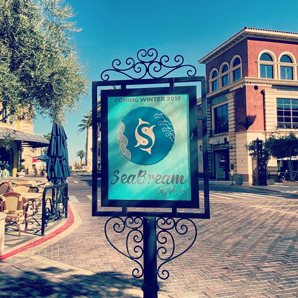 Signage at Tivoli Village announces Asian-inspired seafood restaurant SeaBream is on its way.