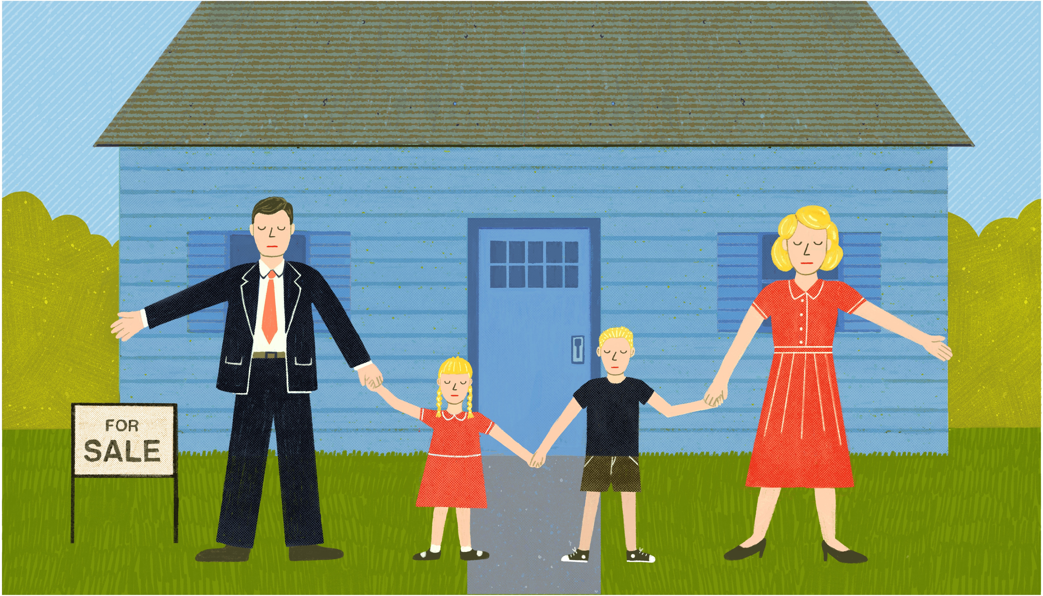 A 1950s-styled white family stands hand-in-hand in front of a blue single family home. The home has a 'For Sale' sign out front but they stand as if they are protecting it. Illustration
