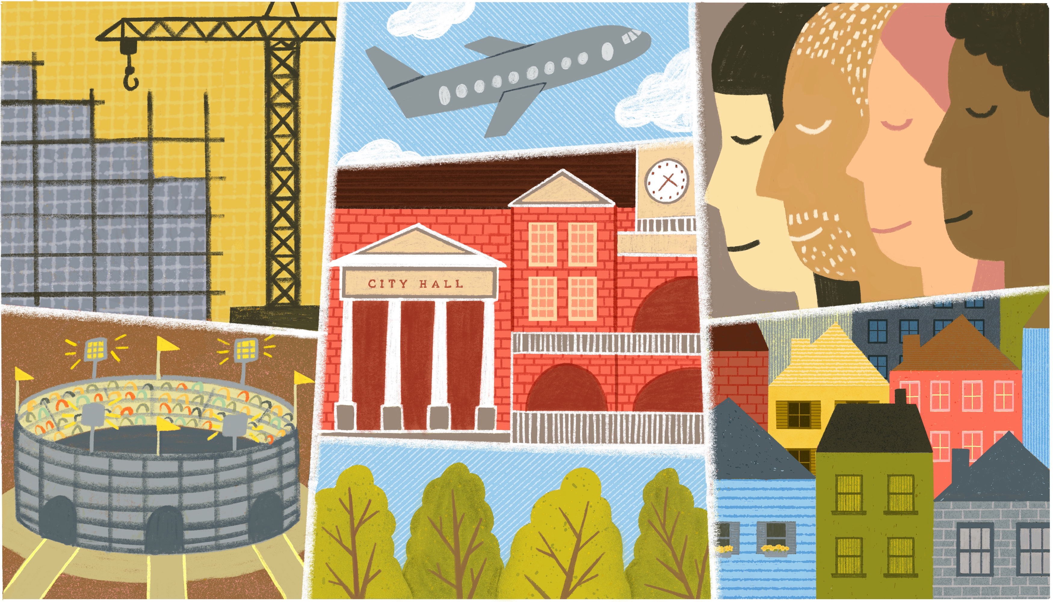 A collage image that includes a construction crane working on a tall building, a busy sports arena, city hall buildings, and airplane and small single family homes. Illustration.