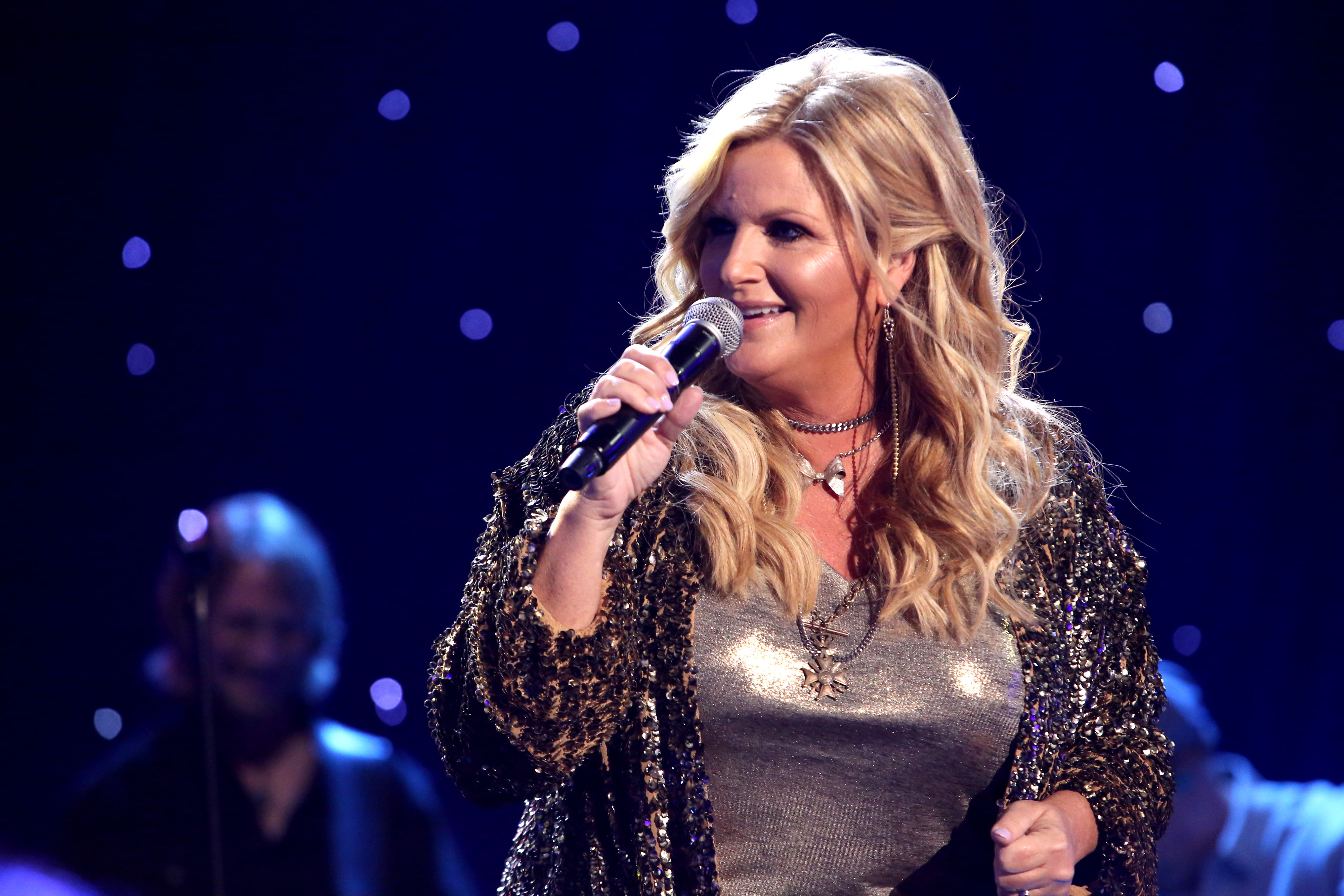 """Trisha Yearwood performs live on stage at the iHeartCountry Album Release Party celebrating the launch of """"Every Girl"""" in September."""