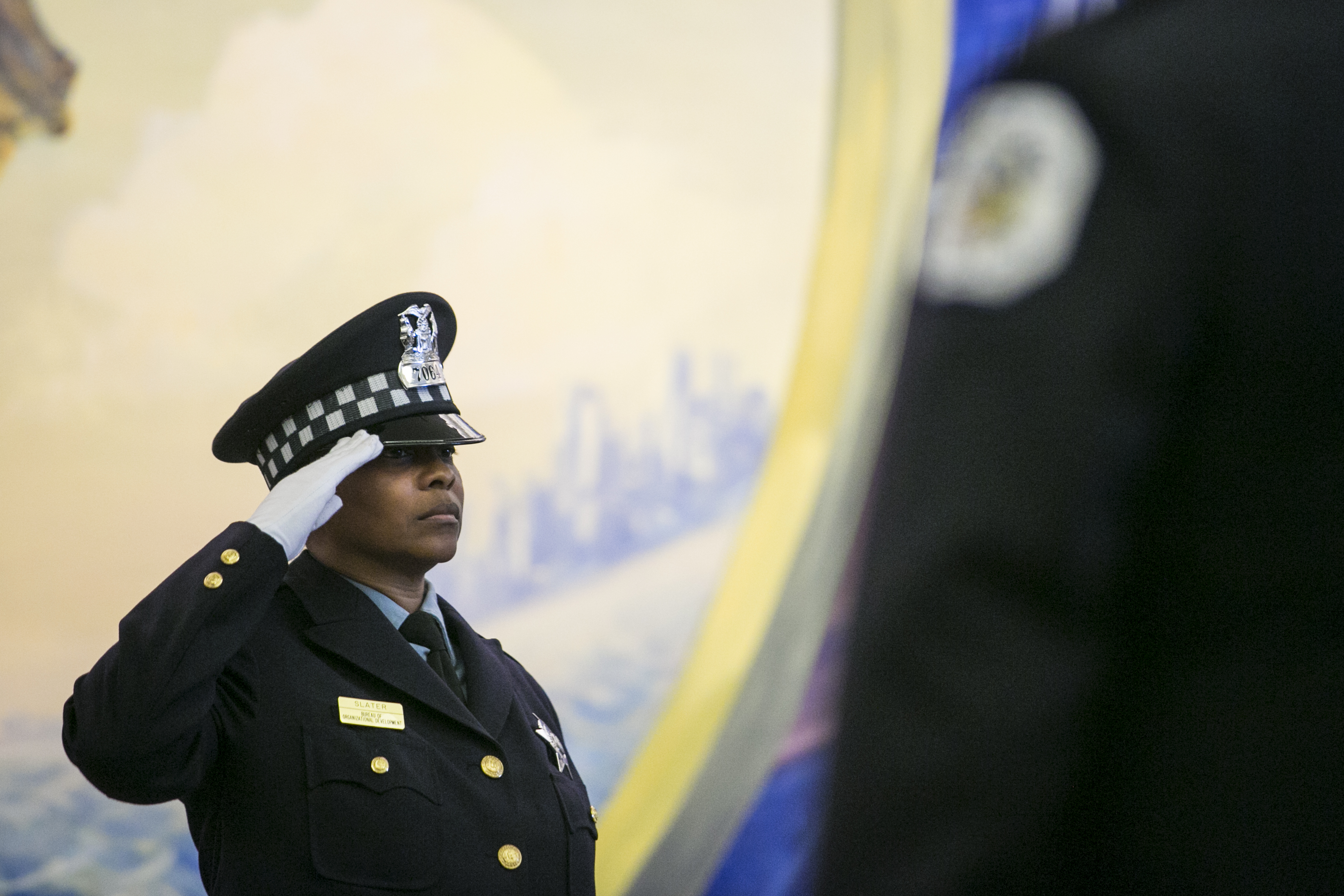Chicago Police officers participate in an Honored Star Case ceremony, in which fallen Chicago Police Department officers are honored by having their stars and numbers retired, at CPD Headquarters, Tuesday afternoon, July 17, 2018. | Ashlee Rezin/Sun-Times
