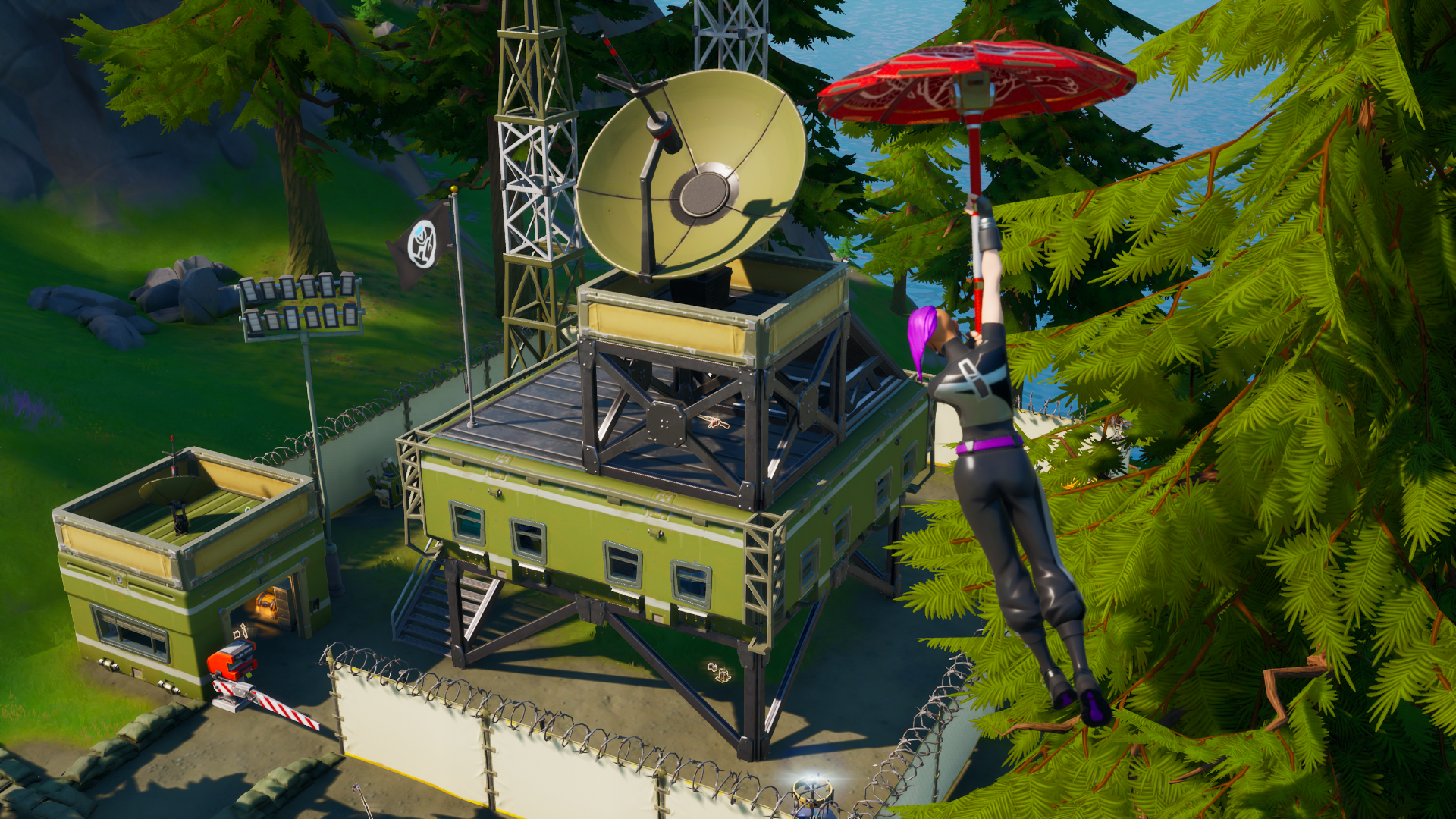 A Fortnite player in Chapter 2 glides in to an E.G.O. outpost