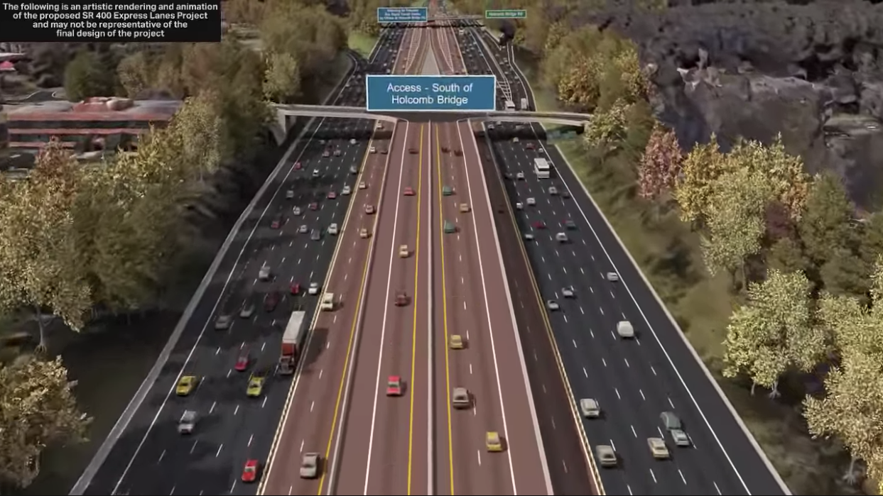 A rendering of SR 400 Express Lanes shows interchange ramps that could be created in Roswell.