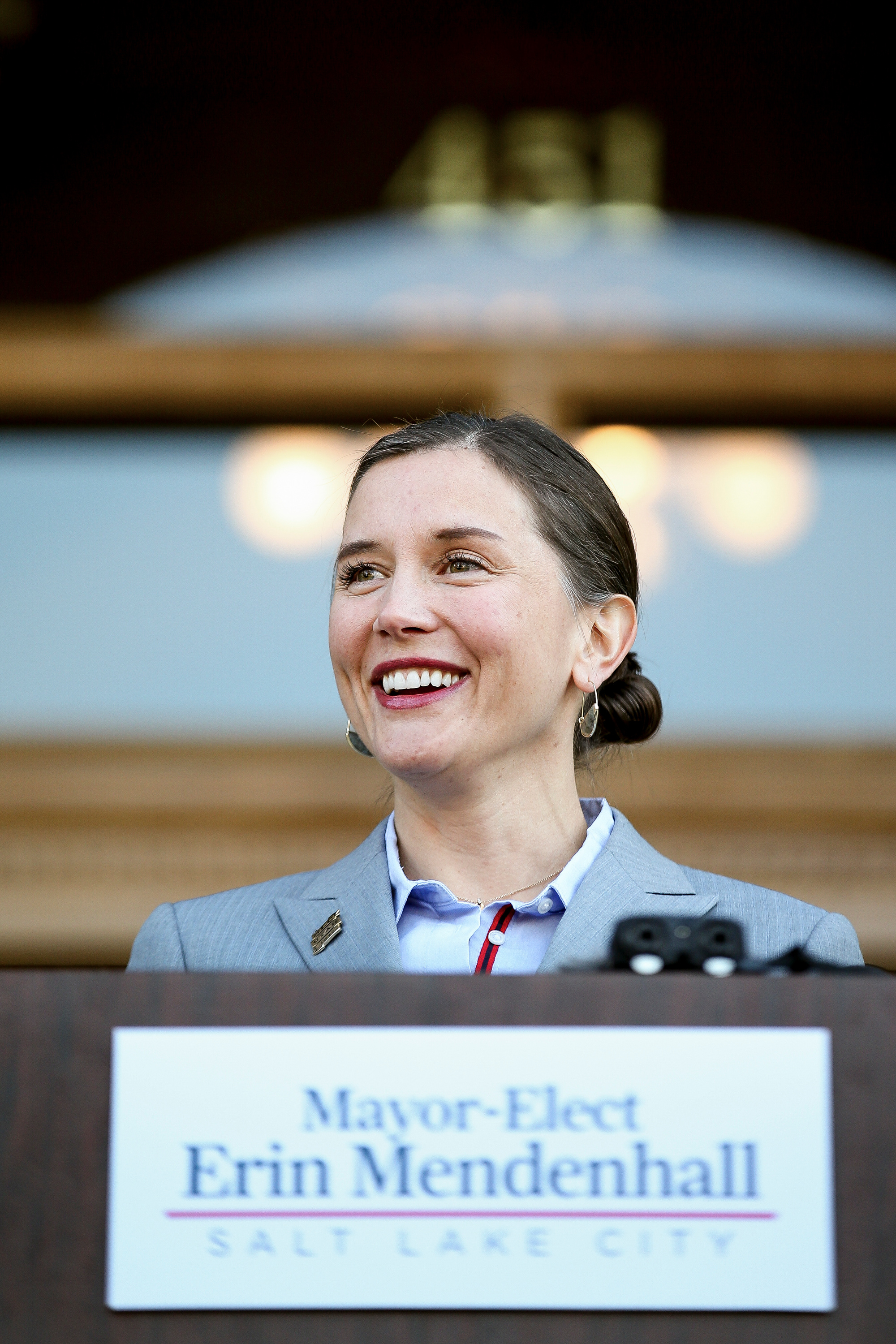 Salt Lake City Mayor-elect Erin Mendenhall holds a press conference at the City-County Building on Thursday, Nov. 7, 2019.